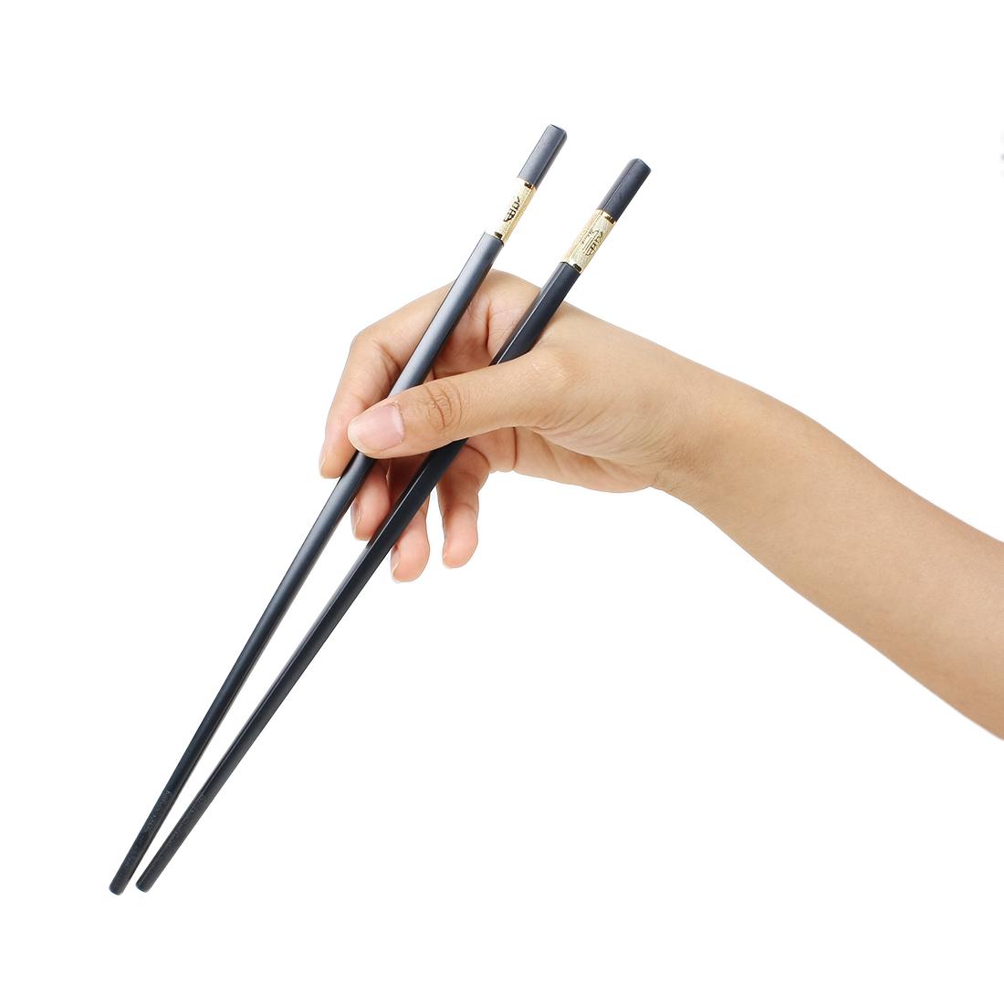 Casa-J Plastic Chinese Character Fu Printed Chopsticks Pair Black Gold Tone