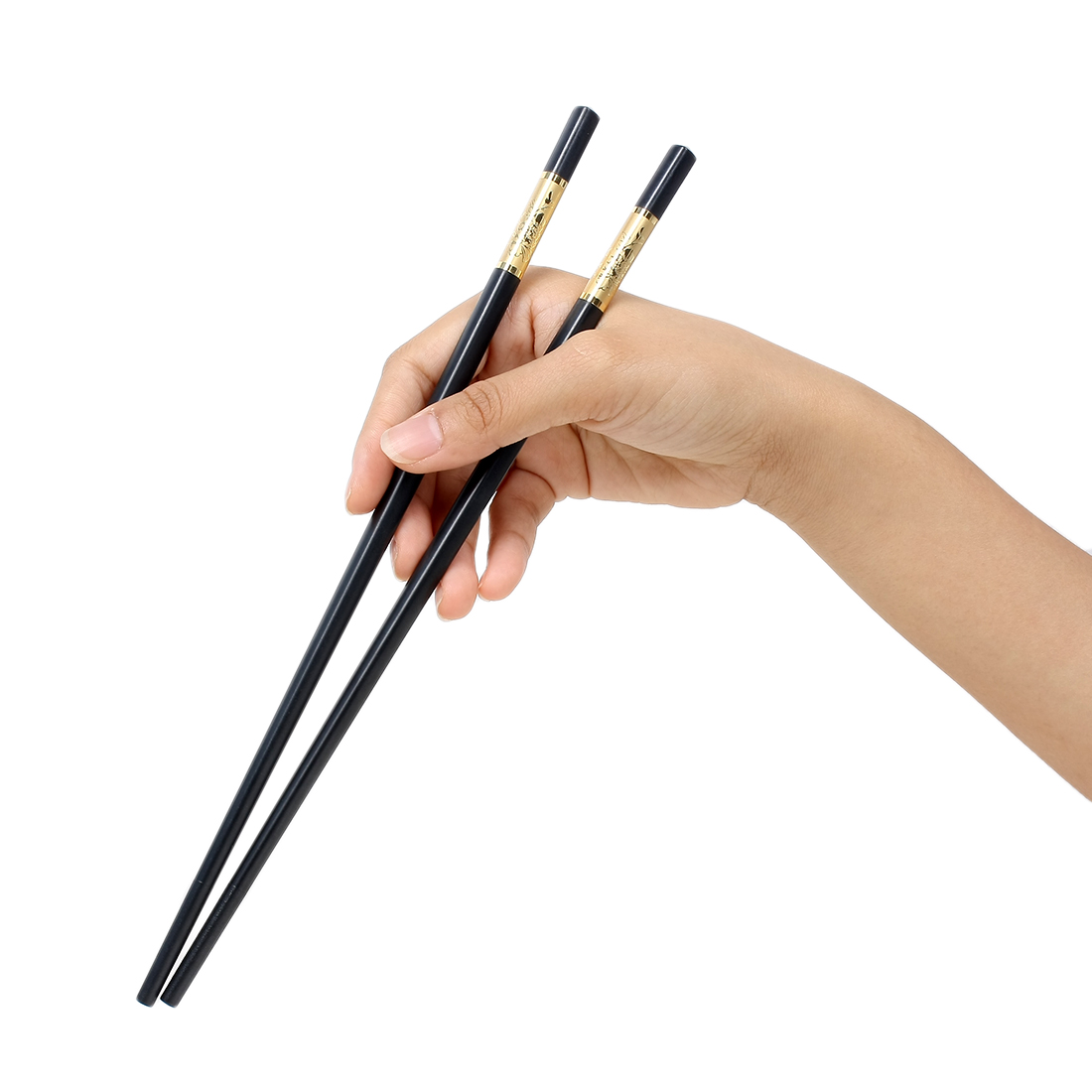 Casa-J Plastic Kitchen Flower Pattern Chopsticks Pair Black Gold Tone