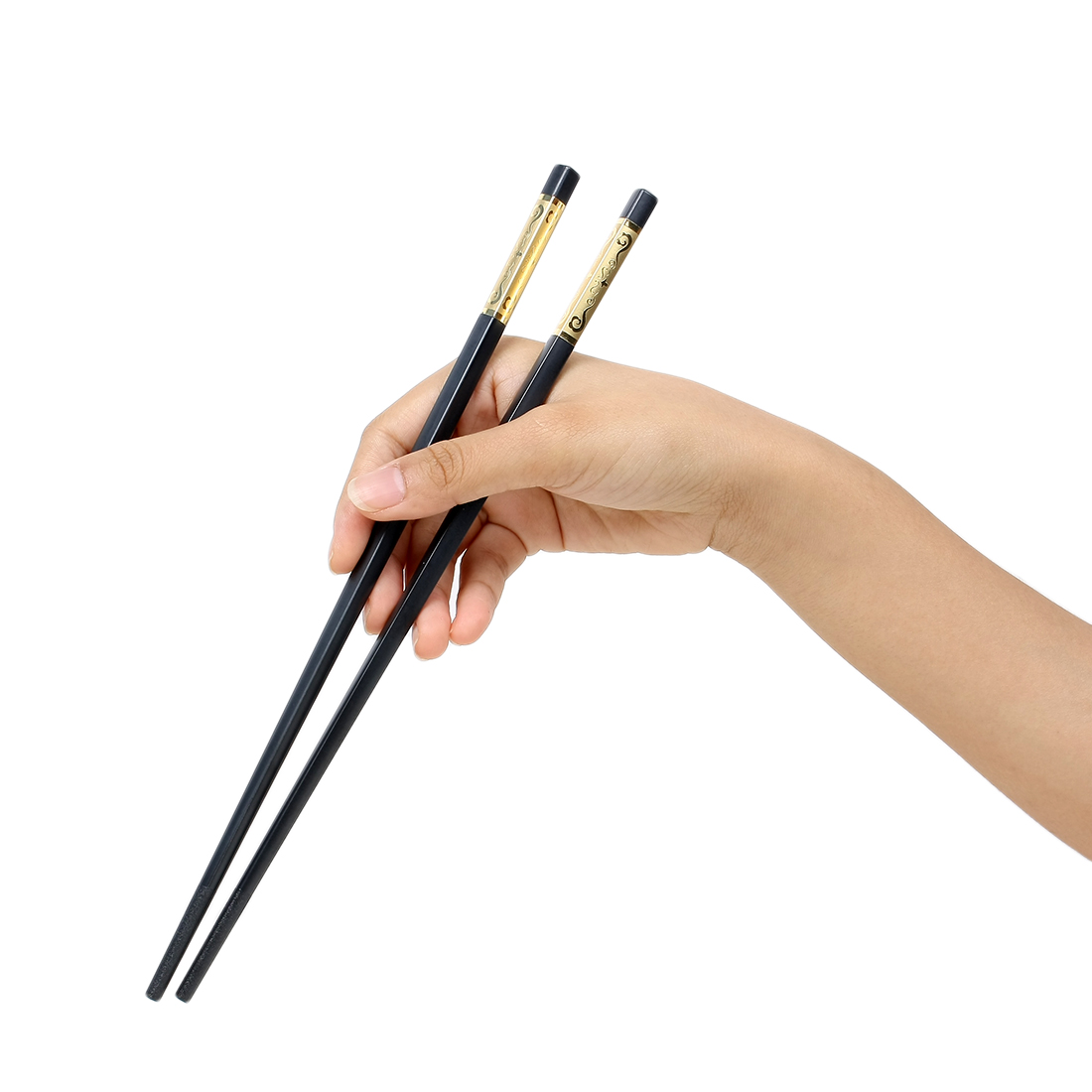 Casa-J Plastic Kitchen Tableware Chopsticks Pair Black Gold Tone