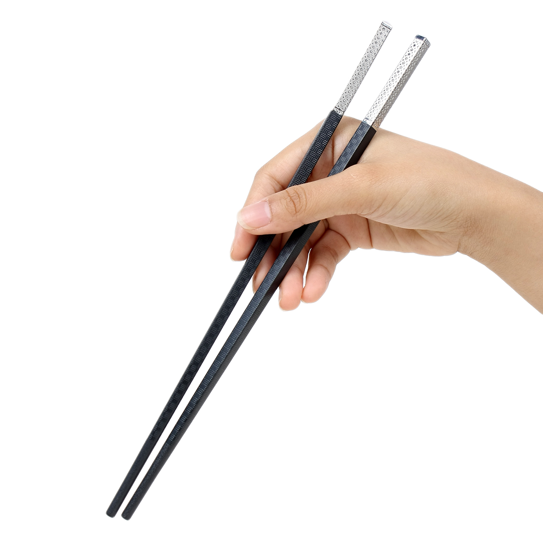 Casa-J Plastic Sakura Prints Kitchen Chopsticks Pair Black Silver Tone