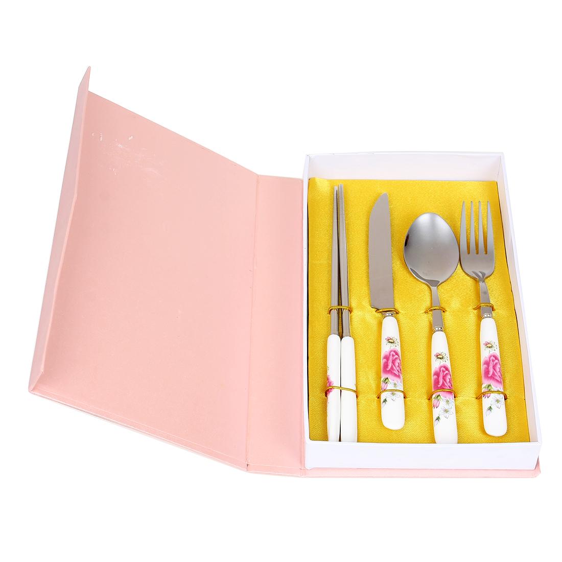 Casa-J Ceramic Handle Flower Print Spoon Fork Chopsticks Cutlery Set 4 in 1