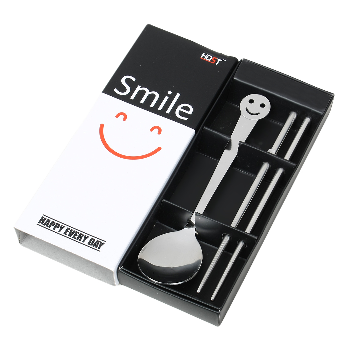 Casa-J Stainless Steel Smile Face Design Spoon Chopsticks 2 in 1 Silver Tone