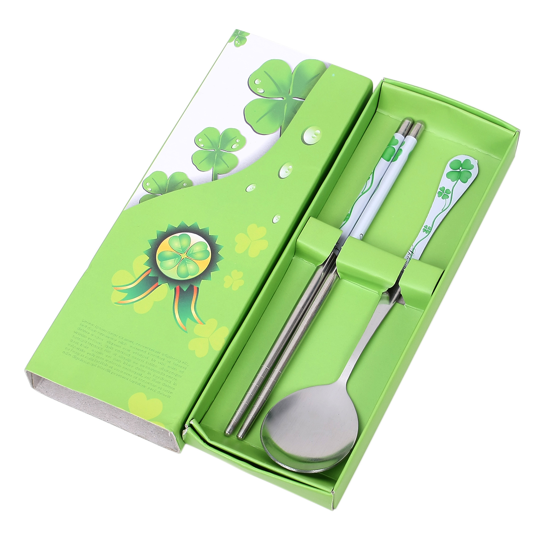 Casa-J Metal Chinese Clover Pattern Dinner Spoon Chopsticks 2 in 1 Silver Tone