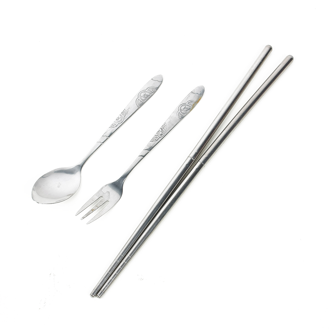 Casa-J Metal Chrysanthemum Style Spoon Fork Folding Chopsticks Cutlery Set 3 in 1