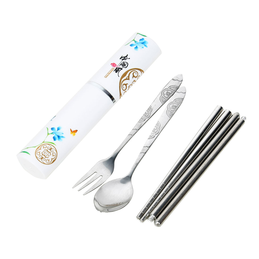Casa-J Metal Chinese Orchid Printed Folding Chopsticks Spoon Fork Cutlery Set 3 in 1