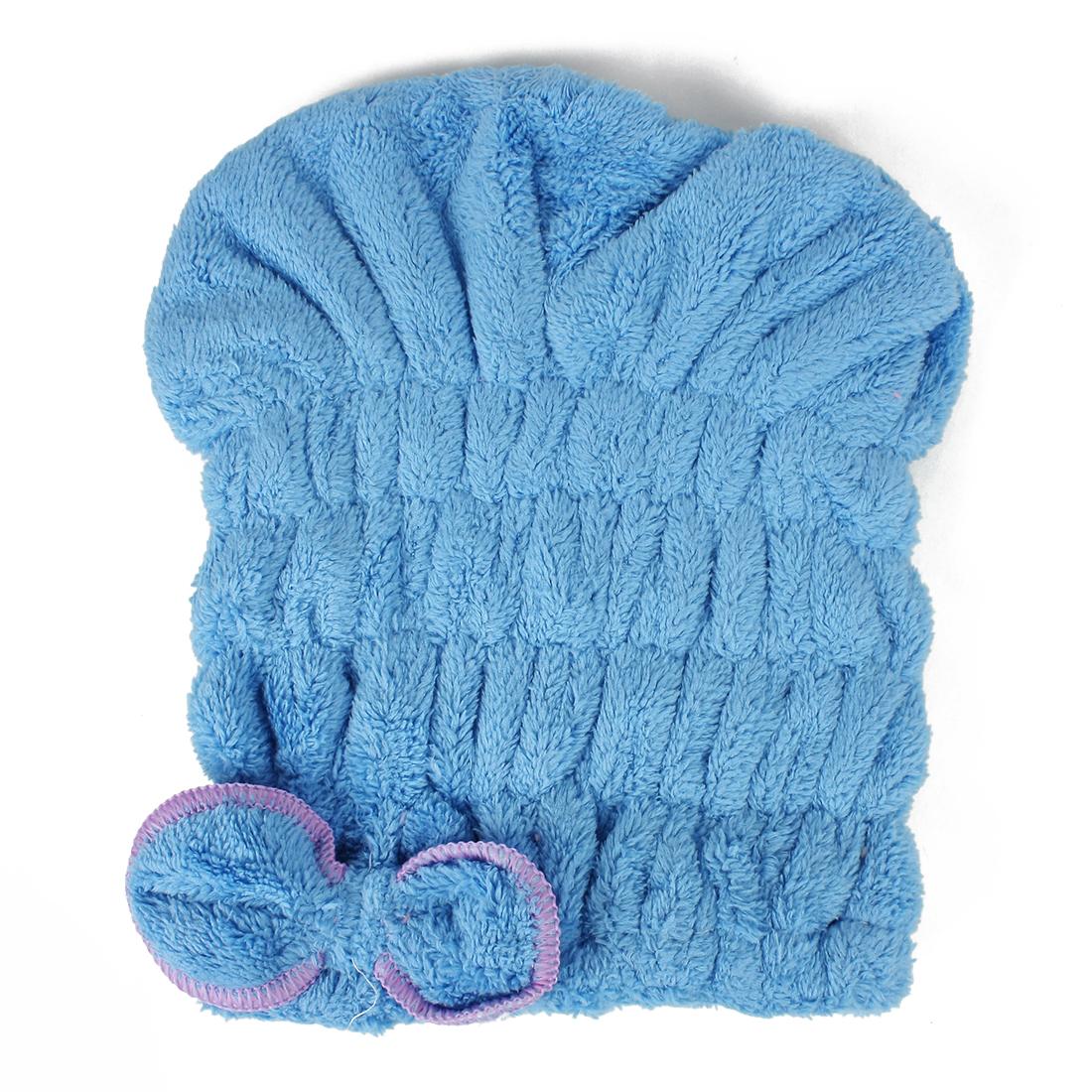 Women Magic Bowknot Towel Hair Drying Towel Hat Cap Blue