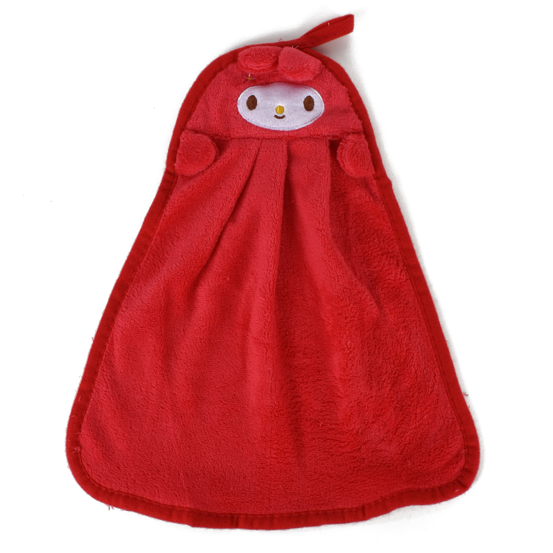 Cute Cartoon Kitchen Hanging Fleece Velvet Dry Hand Towel Red