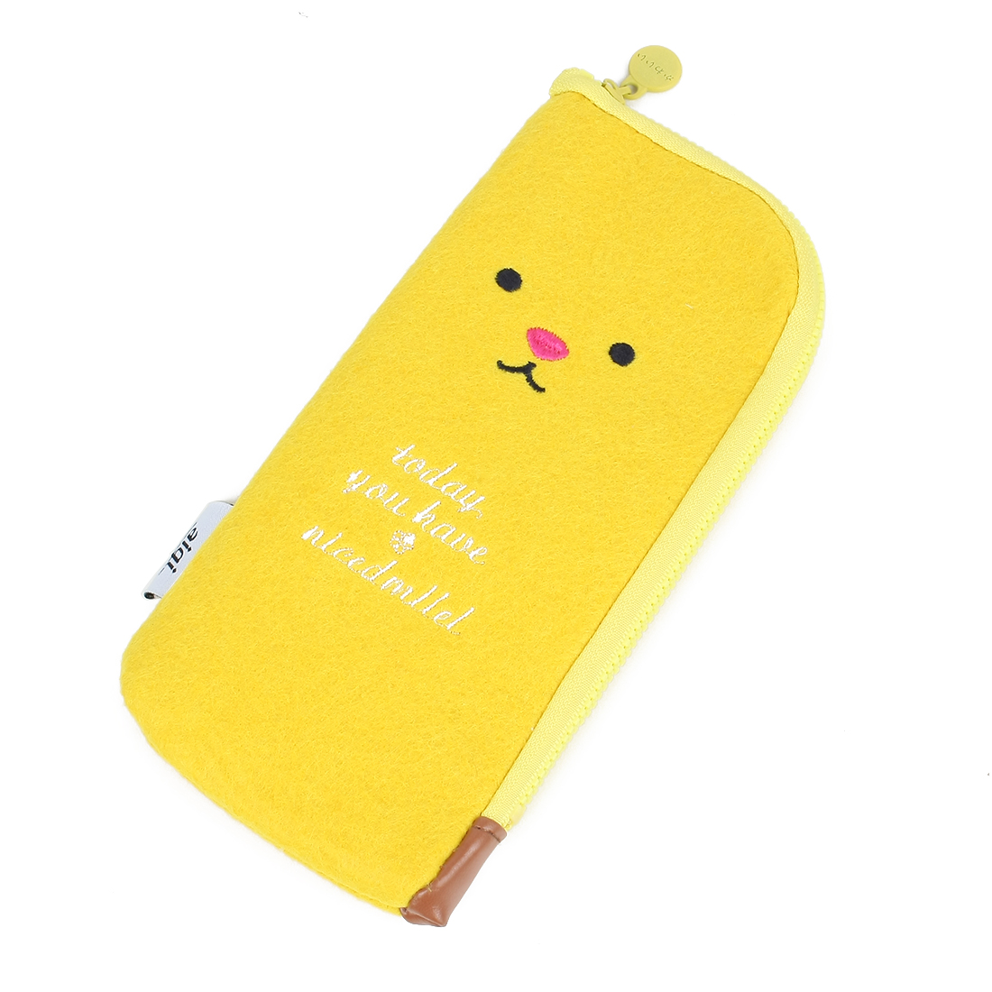 Pencil Rulers Pen Case Holder Nylon Bag Pouch Yellow