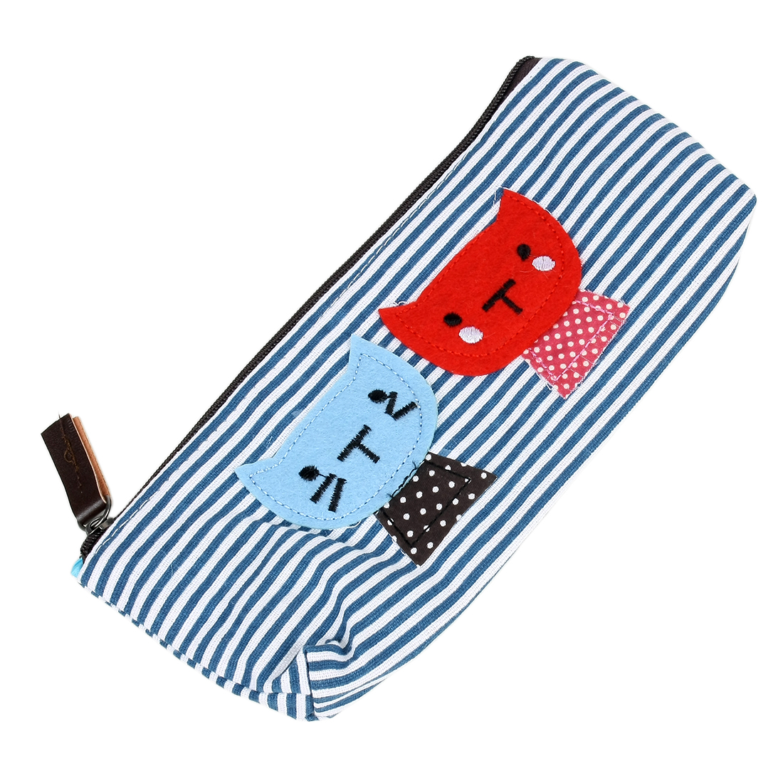Lovely Dual Cat Decor Stripes Pattern Zippered Stationery Pencil Rulers Pen Case Holder Canvas Bag Pouch Navy Blue