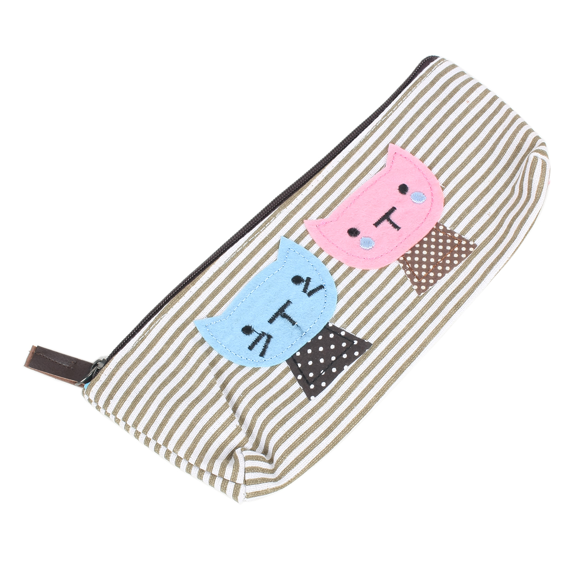 Lovely Dual Cat Decor Stripes Pattern Zippered Single Pocket Pencil Rulers Pen Case Holder Canvas Bag Pouch Coffee Color