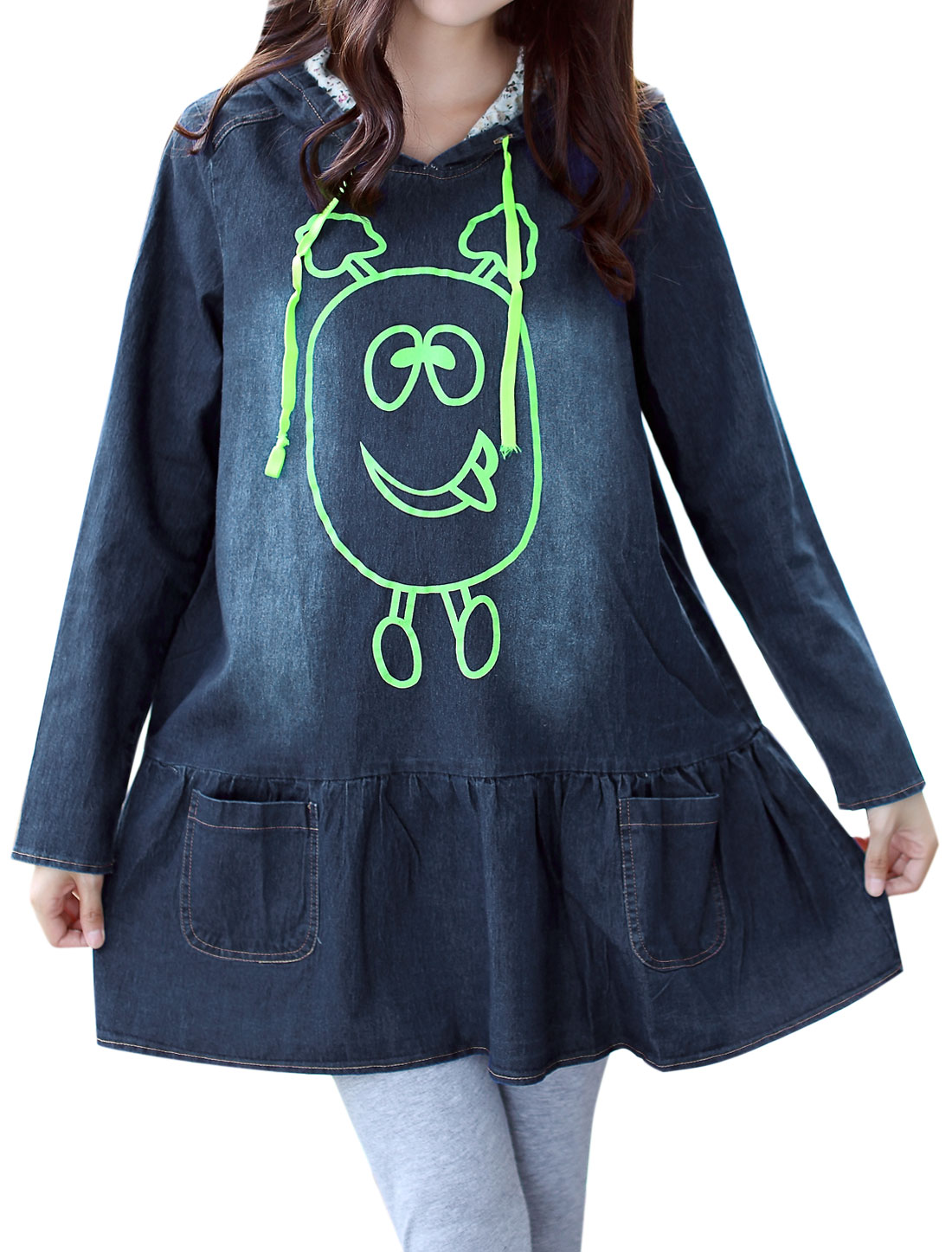 Maternity Drawstring Hood Long Sleeves Cartoon Print Denim Tunic Top Blue M
