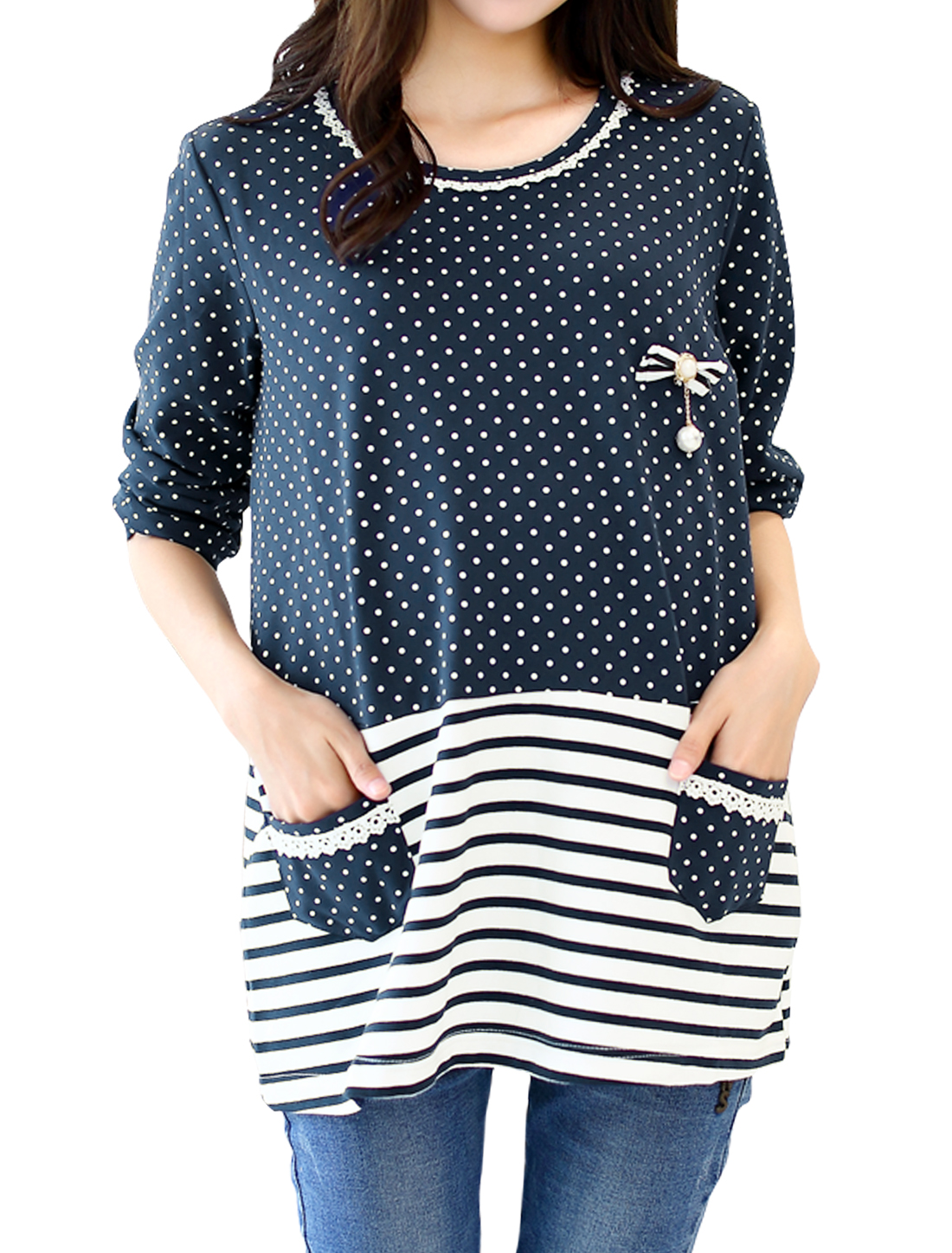 Pregnant Women Long Sleeves Bowknot Decor Dots Stripes Top Blue XS