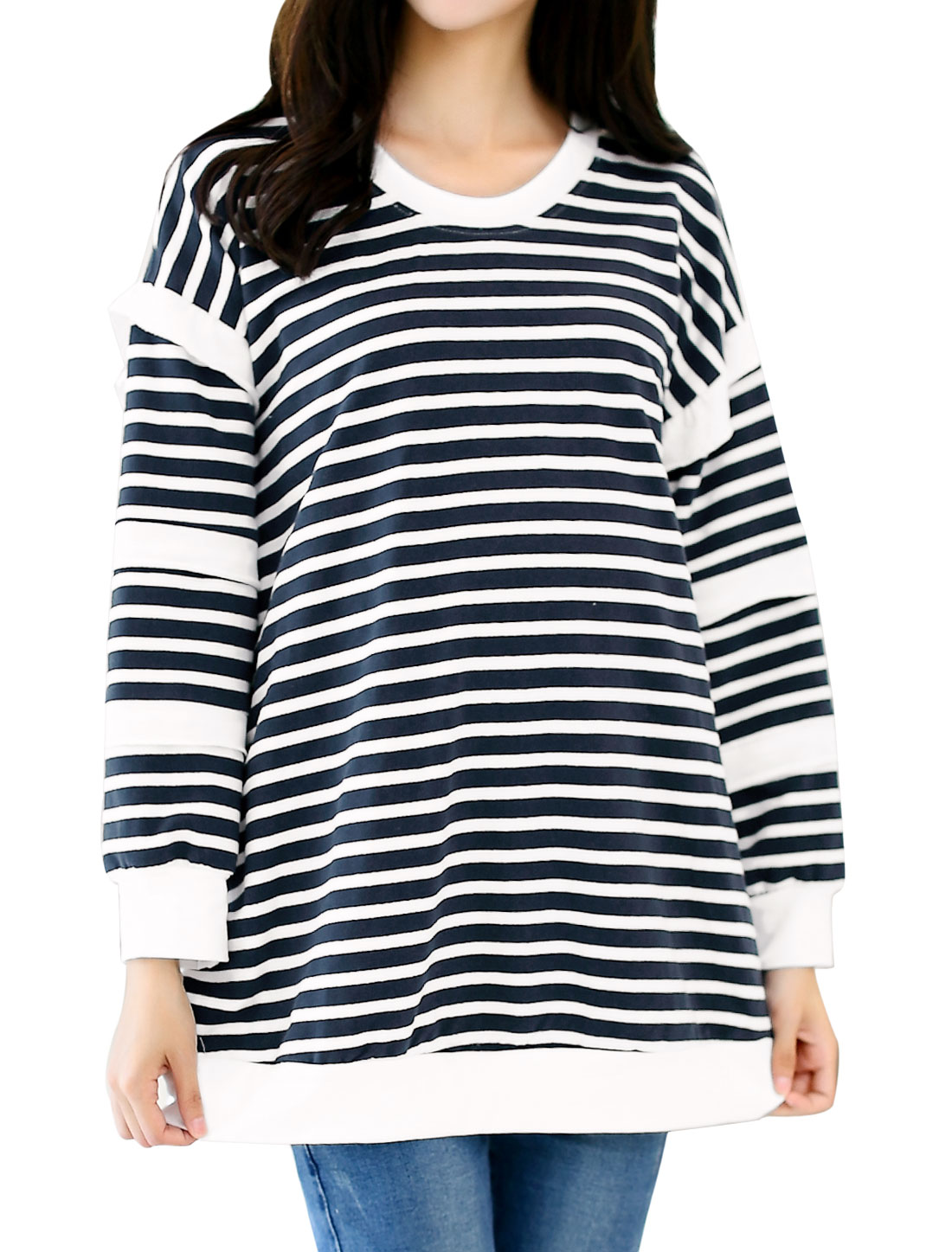 Maternity Long Sleeves Stripes Prints Layered Design Tunic T-Shirt Blue M