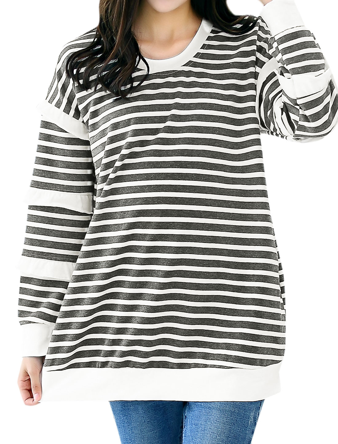 Pregnant Women Round Neck Long Sleeves Stripes Pattern Tunic Top Gray M