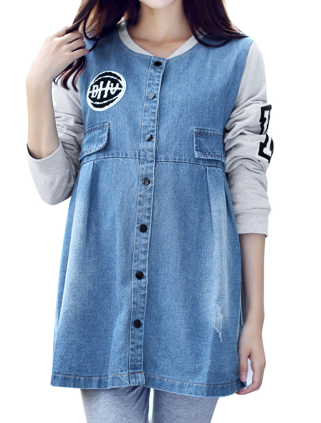 Maternity Stand Collar Contrast Color Appliques Tunic Denim Jacket Gray Blue L