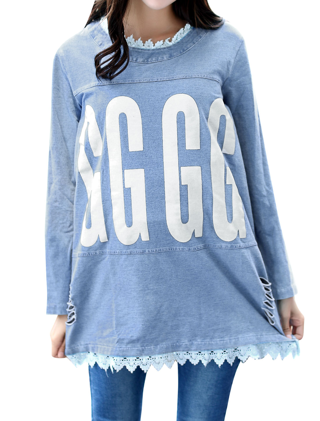 Maternity Long Sleeves Letters Prints Tunic Denim Top Sky Blue XS