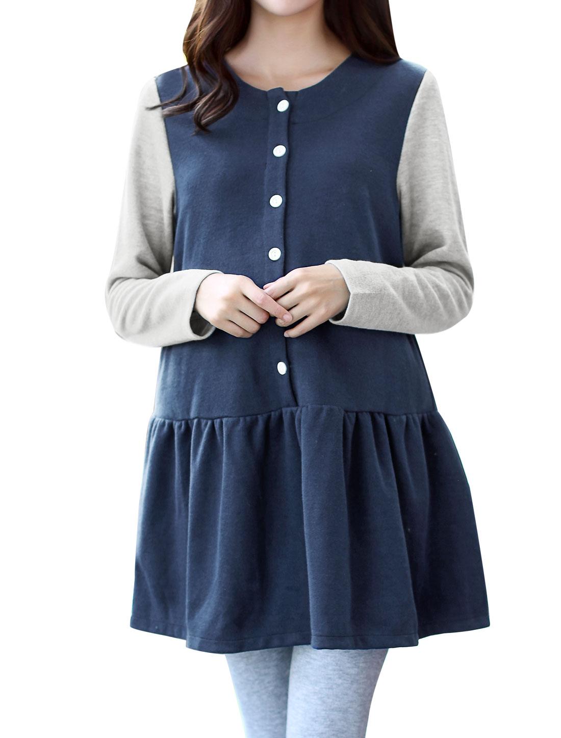 Maternity Long Sleeves Ribbed Flouncing Hem Tunic Dress Blue XS