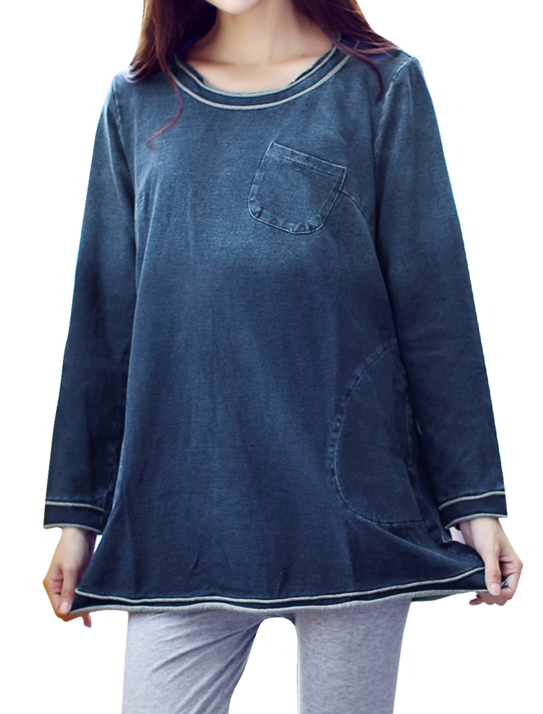 Maternity Round Neck Long Sleeves Raw Edge Tunic Denim Top Blue XS