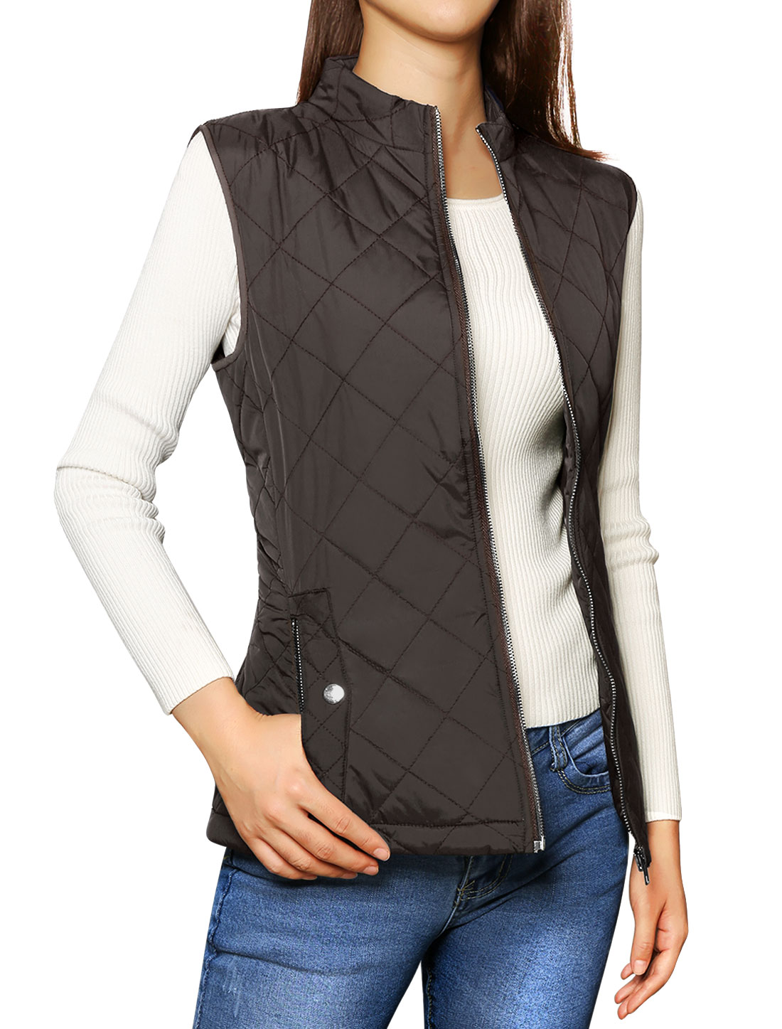 Woman Zip Up Stand Collar Slant Pockets Quilted Padded Vest Brown L