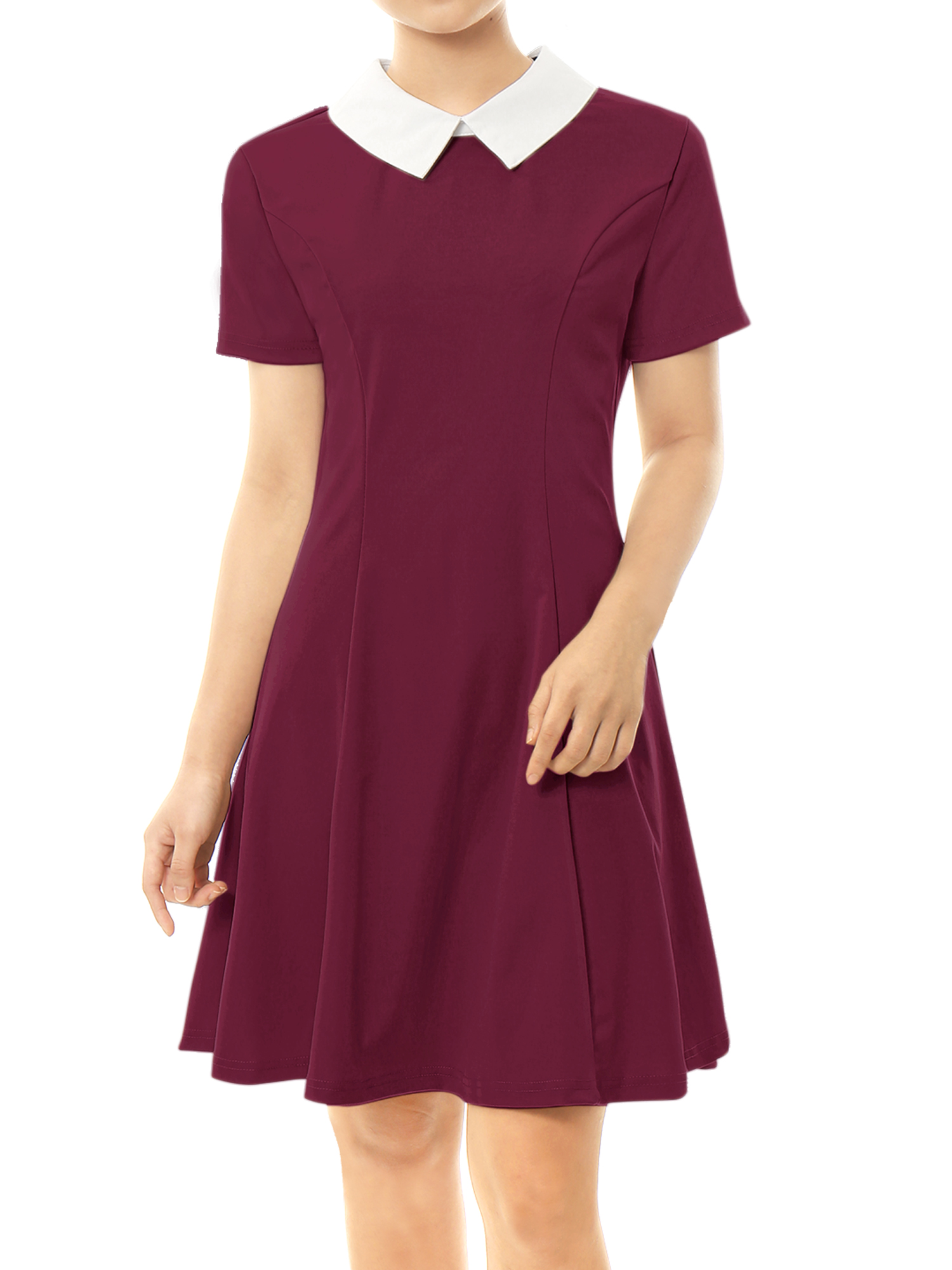 Women Doll Collar Short Sleeves Fit and Flare Dress Red L