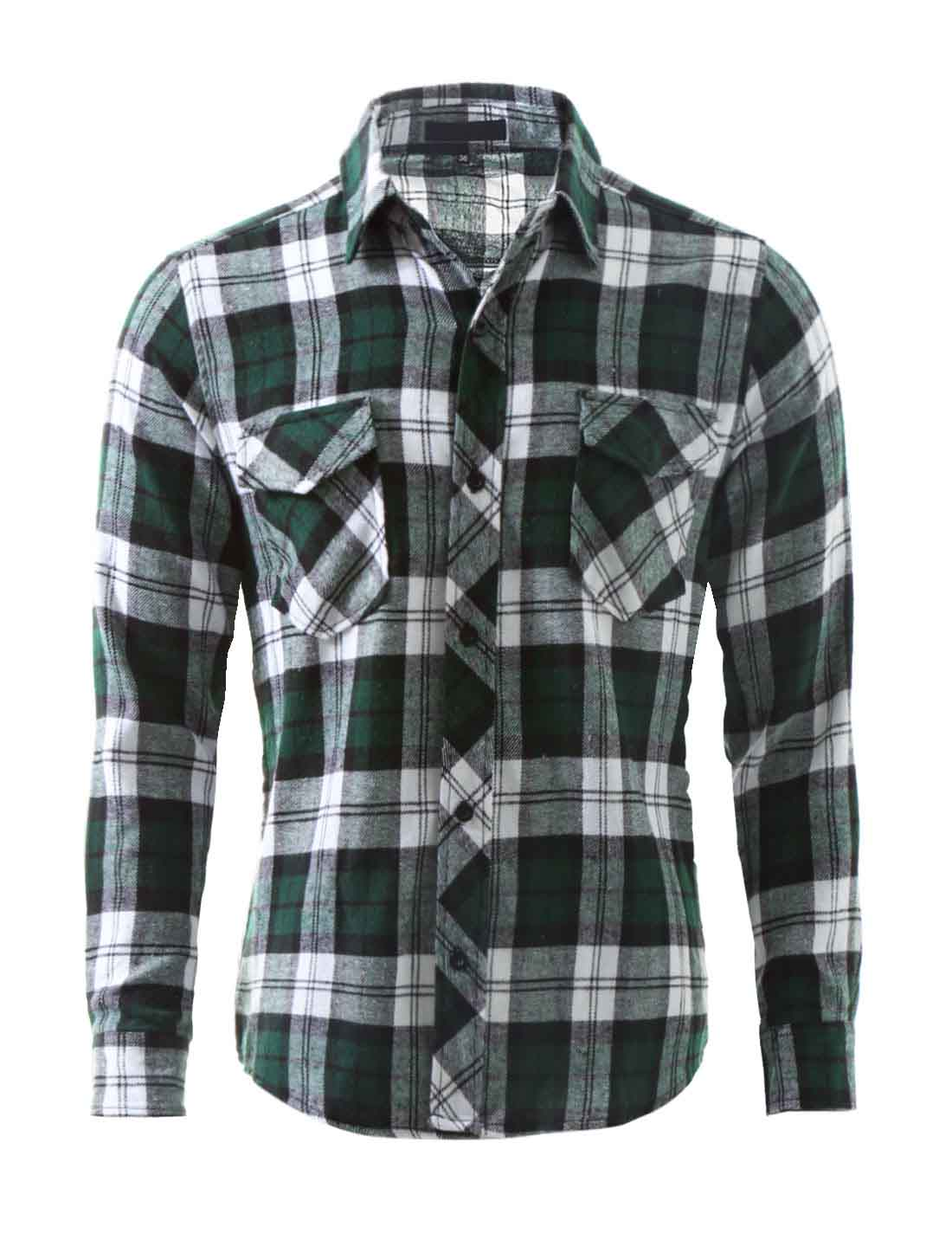 Men Buttoned Plaids Flannel Shirt w Flap Pockets Green S