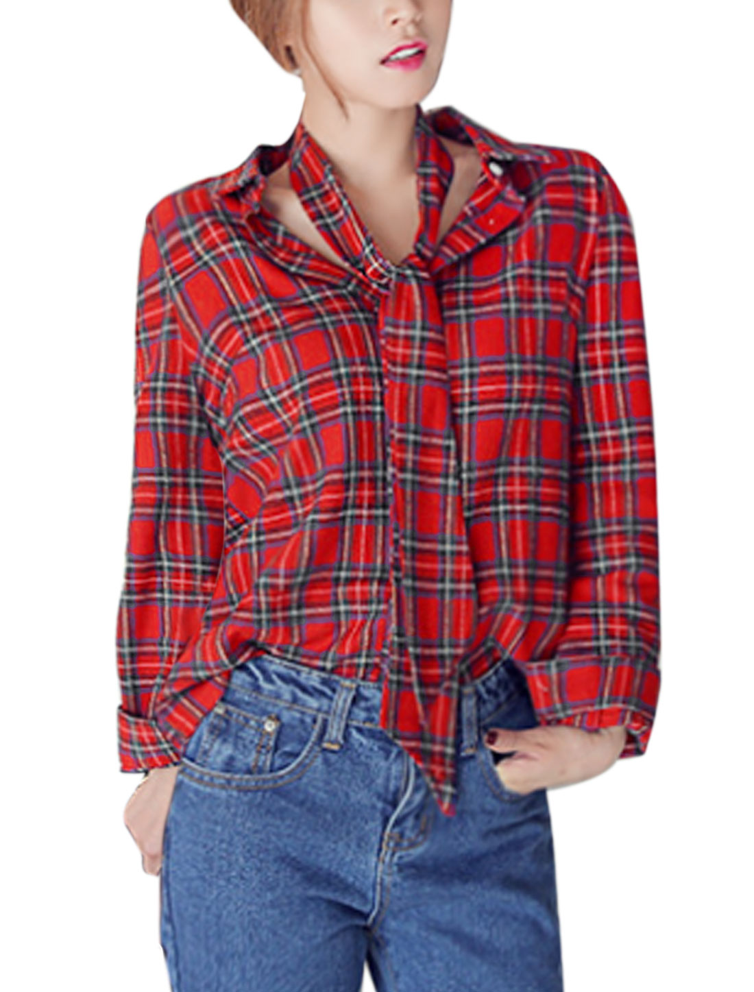 Women Point Collar Long Sleeves Single Breasted Plaids Shirt w Bowtie Red XS