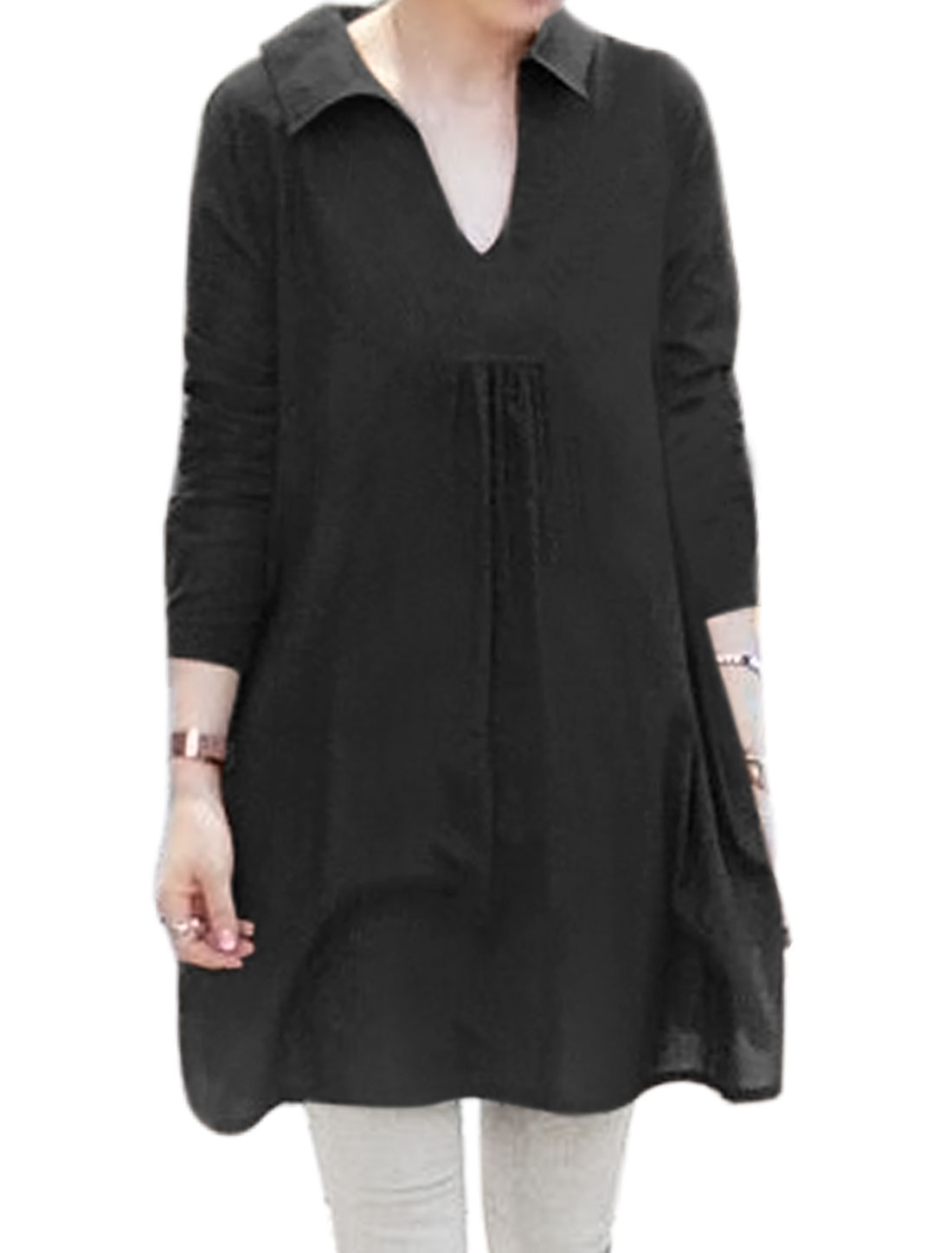 Women Long Sleeves Side Splits Loose Tunic Shirt Black XS