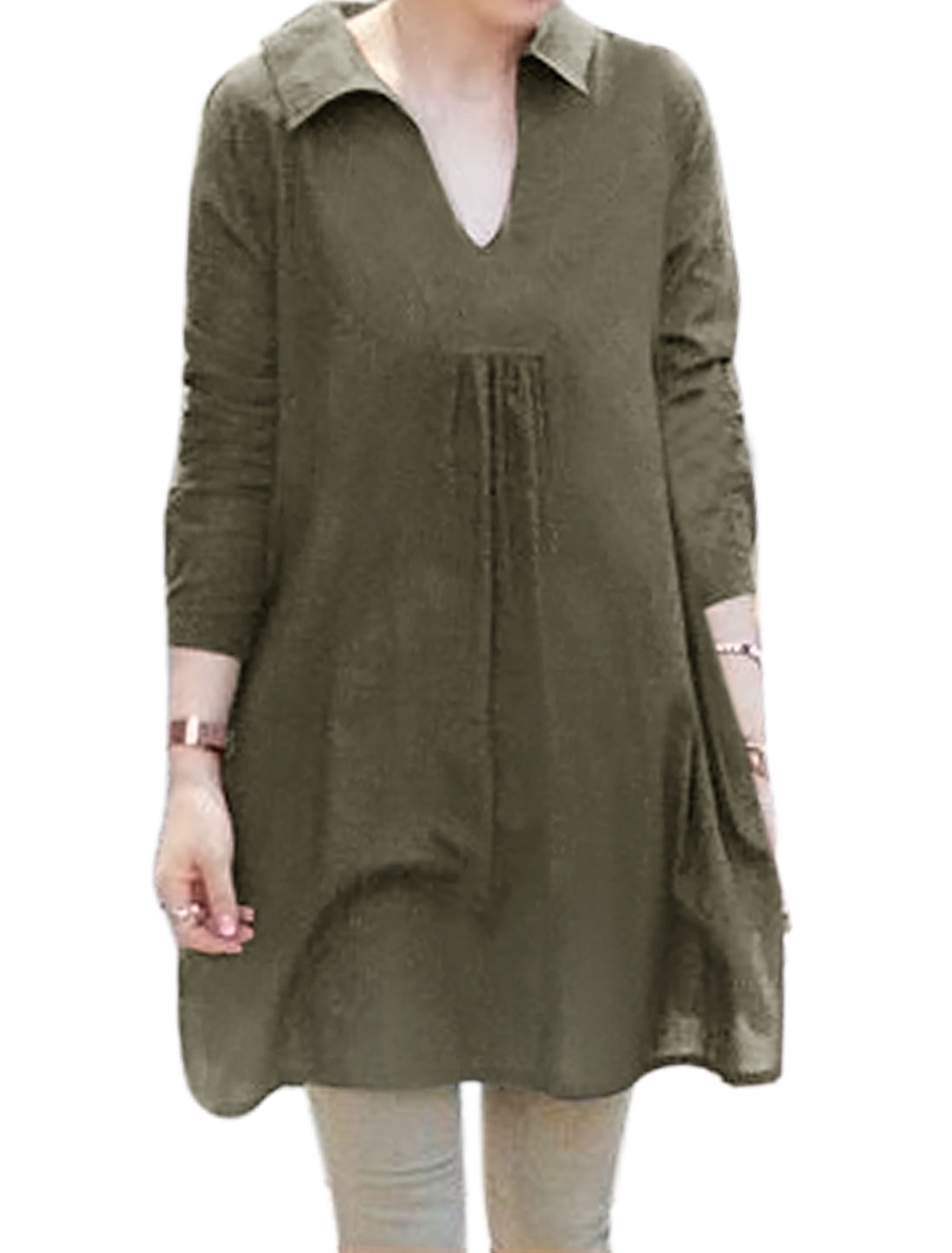 Ladies V Neck Long-sleeved Loose Side Split Tunic Top Green XS