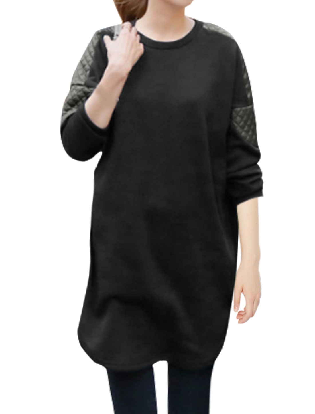 Women Crew Neck Long Sleeves PU Panel Quilted Design Tunic Top Black XS