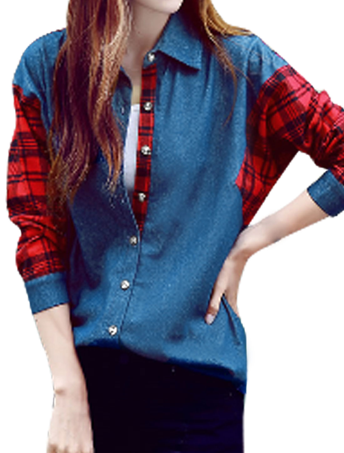 Women Point Collar Long Sleeves Plaids Paneled Denim Shirt Blue M