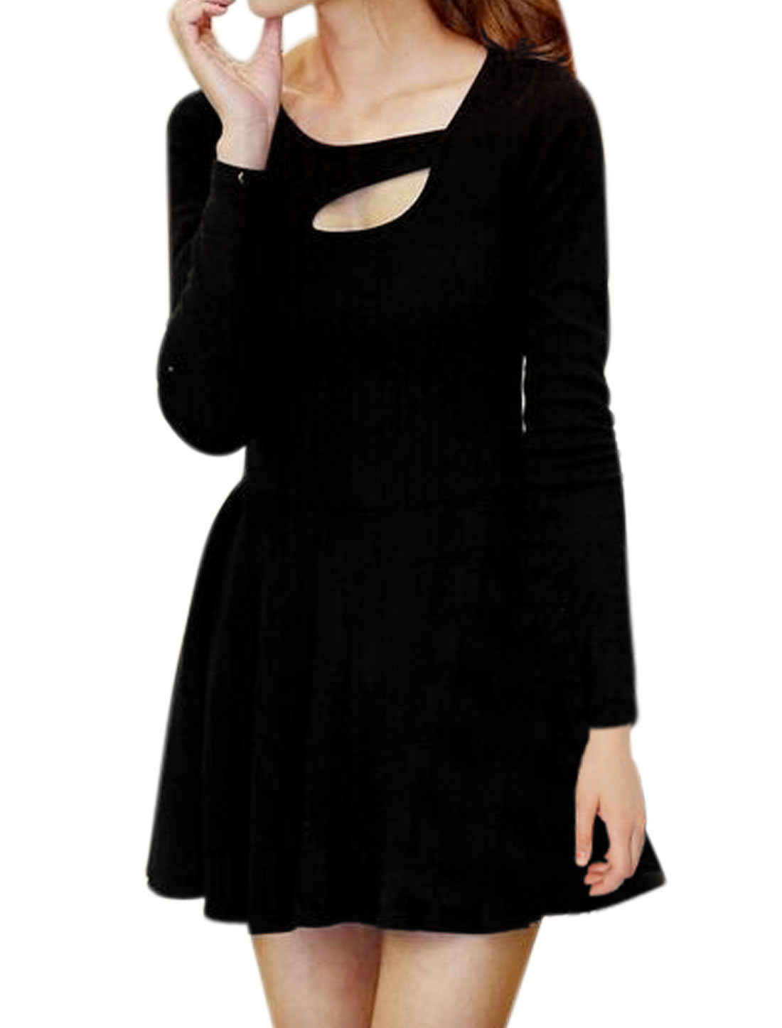 Women Asymmetric Neck Long Sleeves Cut Out Front Tunic Dress Black M