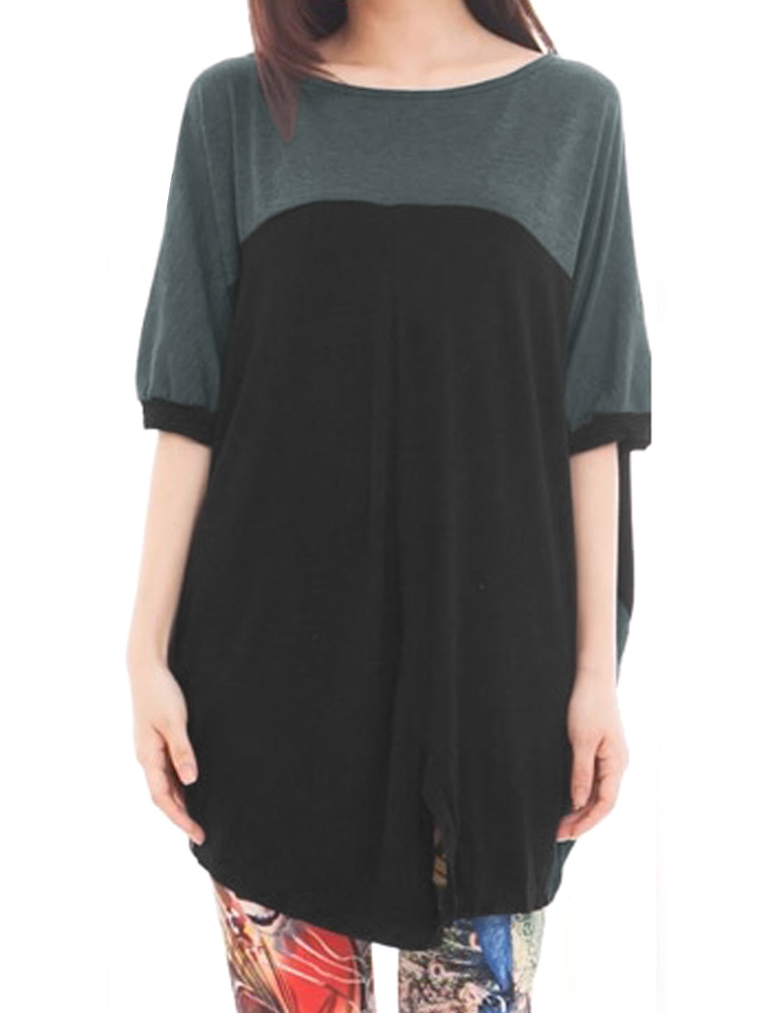Women Split Front Contrast Color Batwing Tunic Top Black XS