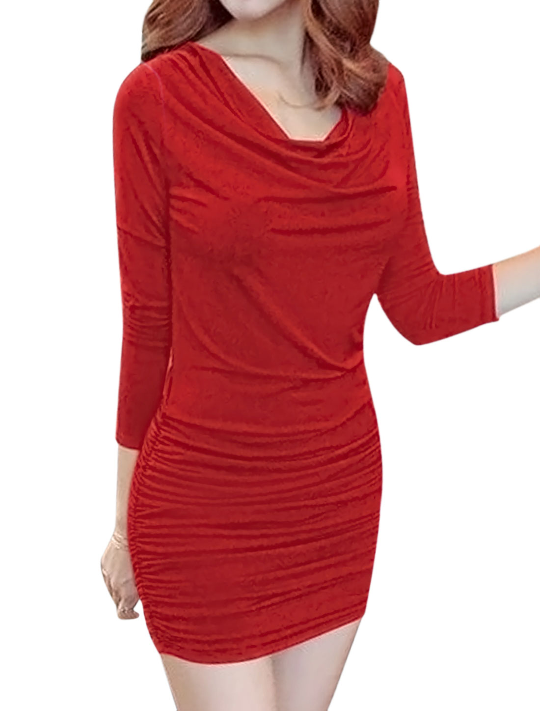 Women Cowl Neck Long Sleeves Ruched Bodycon Dress Red M