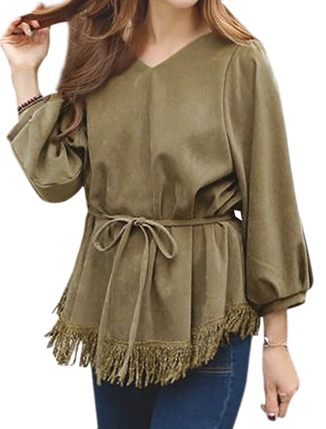 Women V Neckline Bishop Sleeves Tassels Hem Loose Pullover Top w Belt Green XS