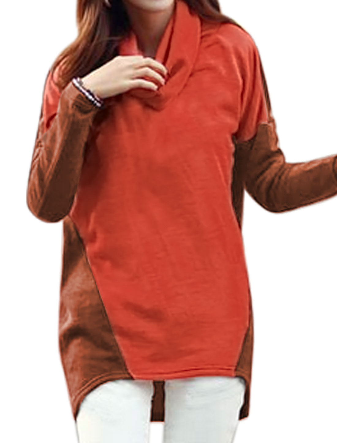 Women Cowl Neck Long Sleeves Color Block High Low Hem Tunic Top Orange Blown S