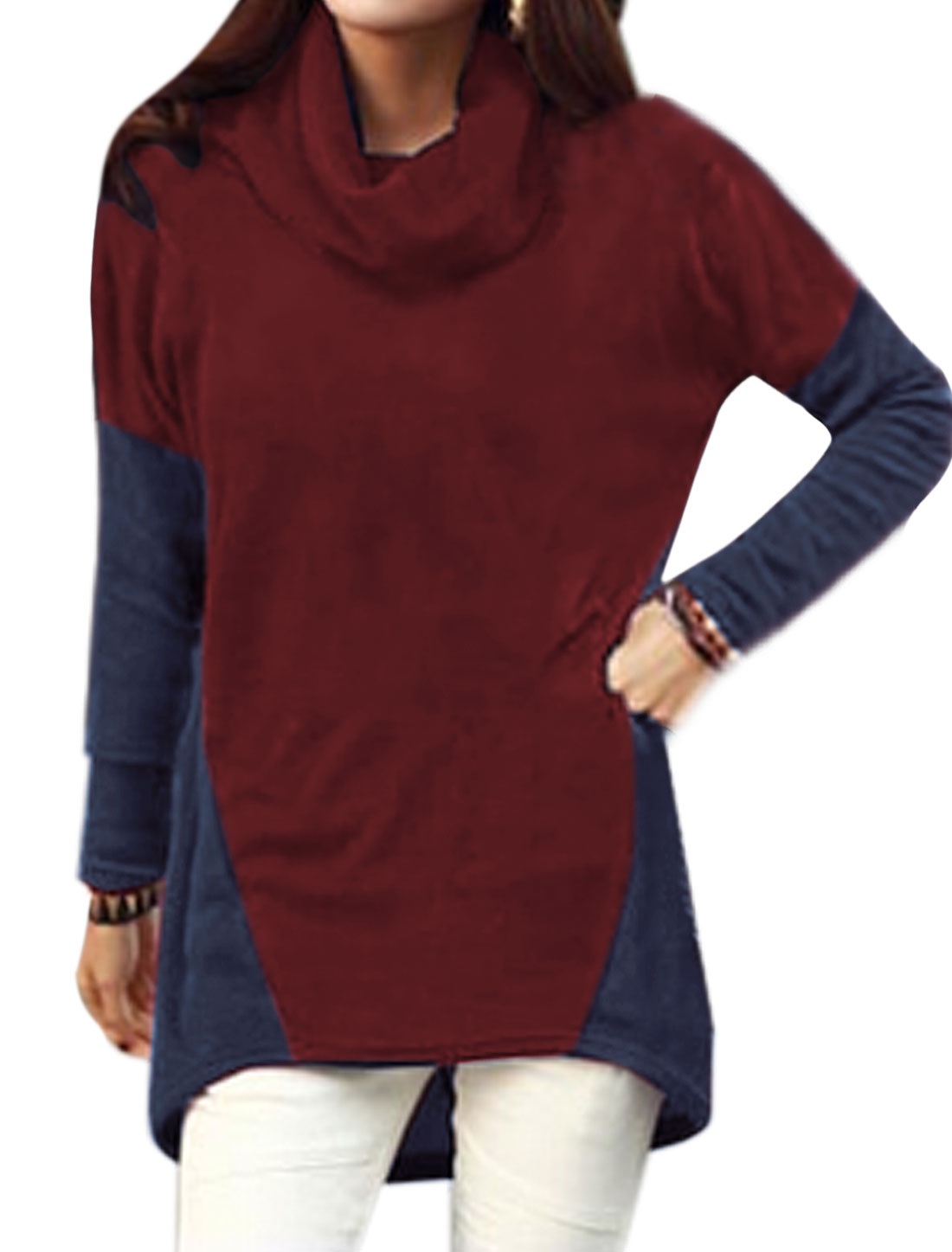 Women Batwing Sleeves Color Block High Low Hem Casual Tunic T-Shirt Red Blue S