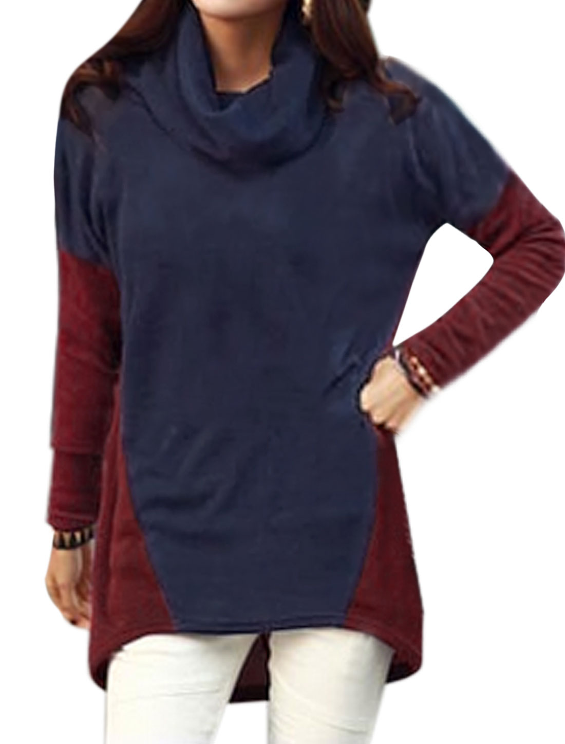 Ladies Cowl Neck Dolman Sleeves Contrast Color High Low Hem Tunic Top Blue Red S