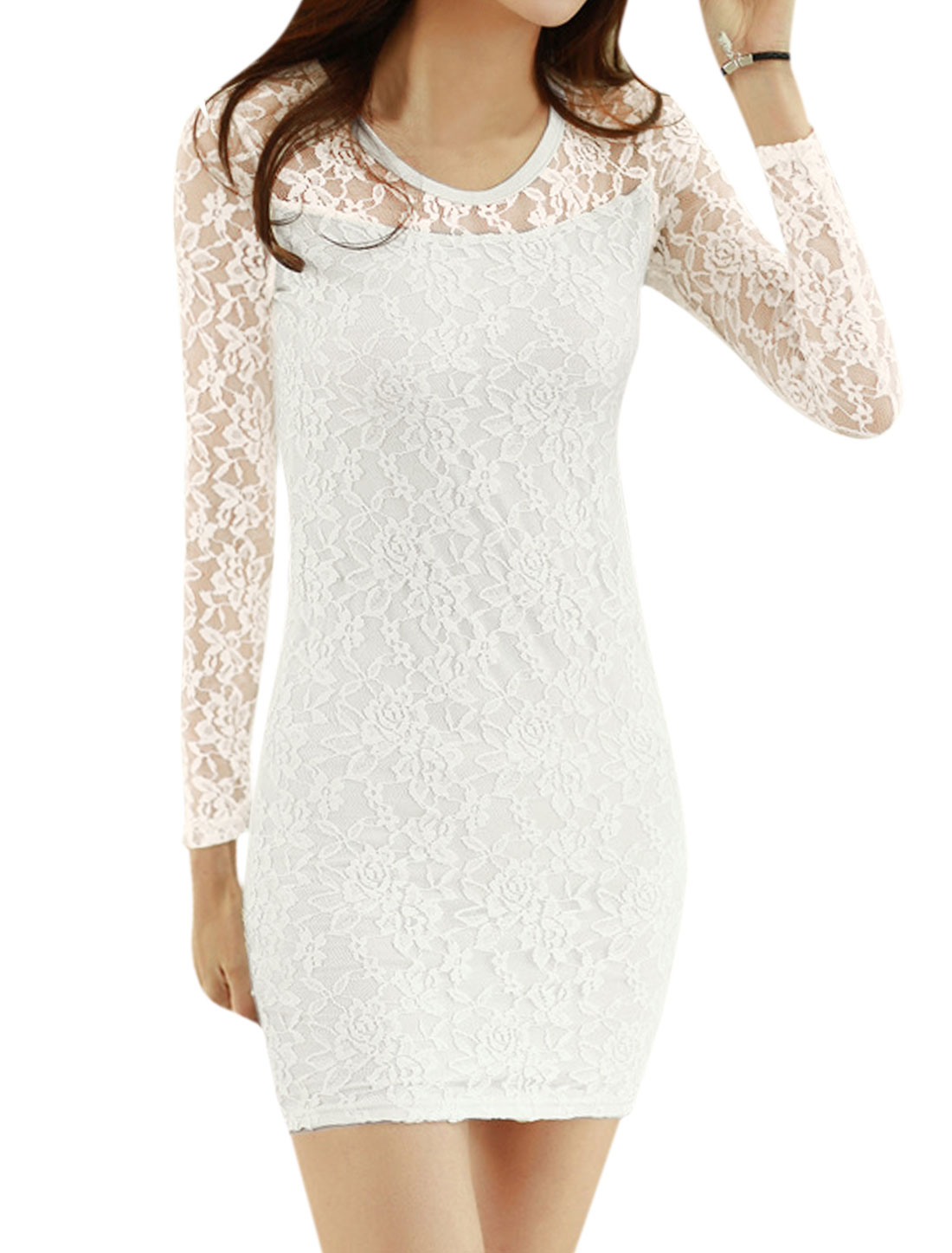 Women Round Neck Long Sleeves Slim Fit Lace Dress White M