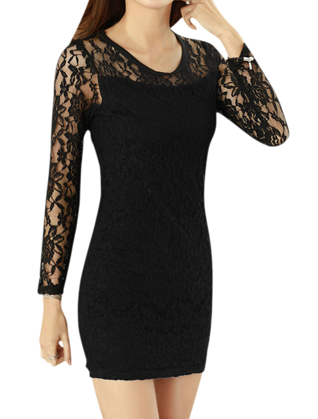 Ladies Round Neckline Long Sleeves Lace Bodycon Dress Black M