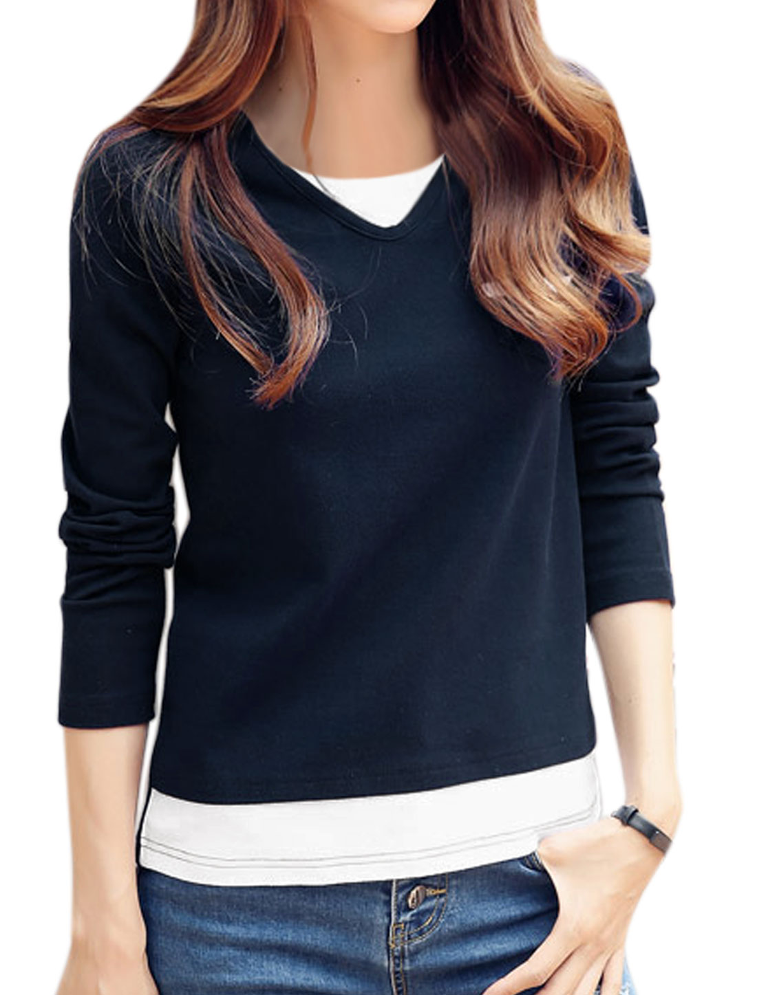 Lady Round Neck Long Sleeves Contrast Color Layered Tee Shirt Blue XS