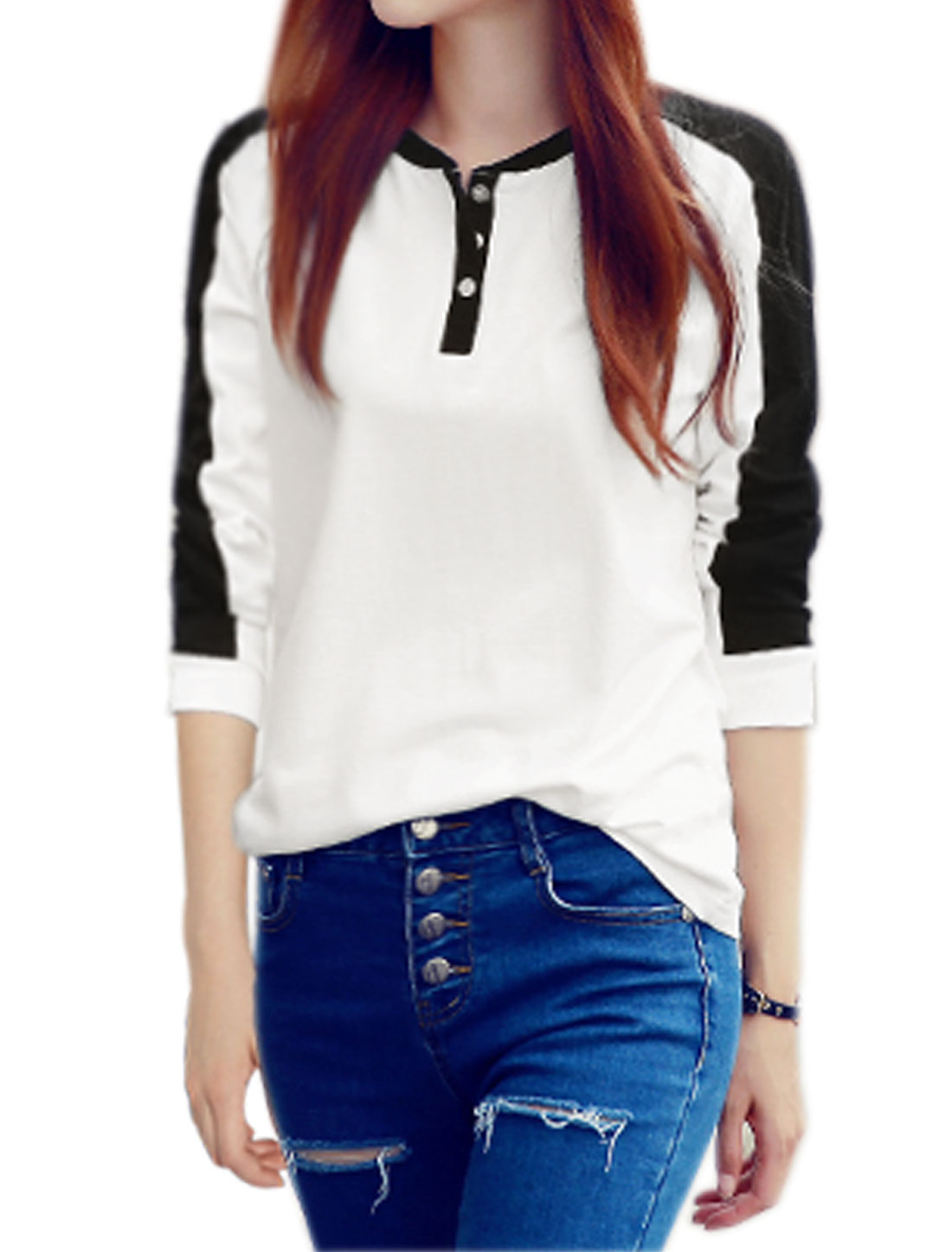 Women Long Sleeves Button Closed Upper Contrast Color Top White XS
