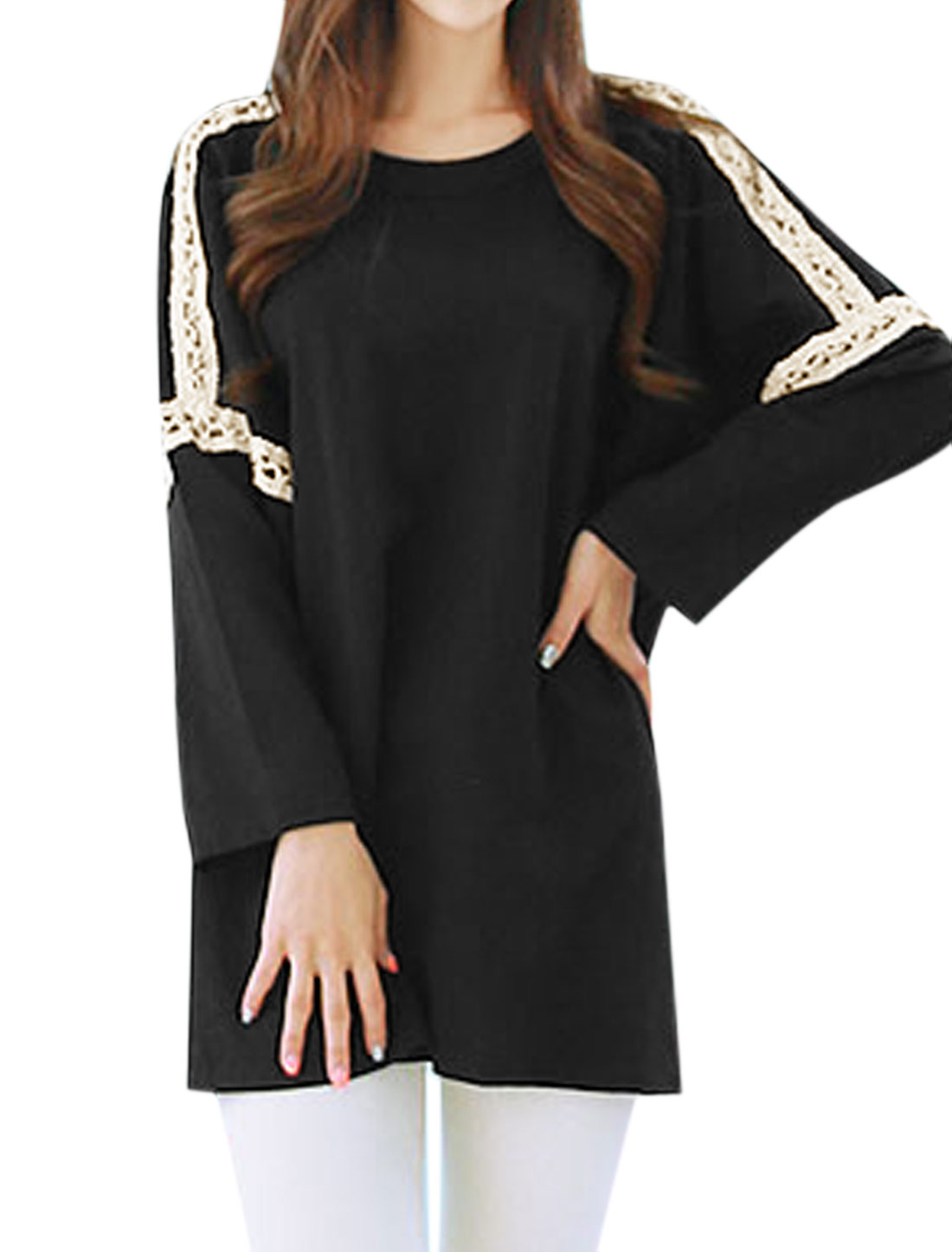 Women Batwing Sleeves Hollow Out Paneled Loose Tunic Shirt Black XS