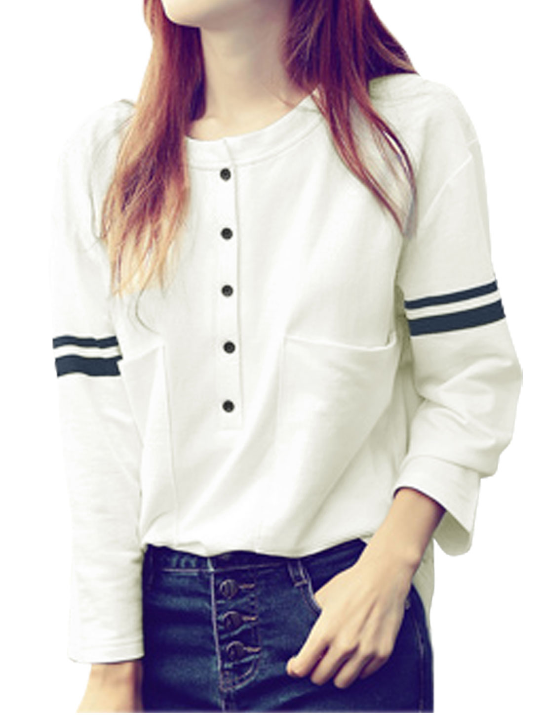 Women Crew Neck Long Sleeves Half Placket Tee Shirt White XS