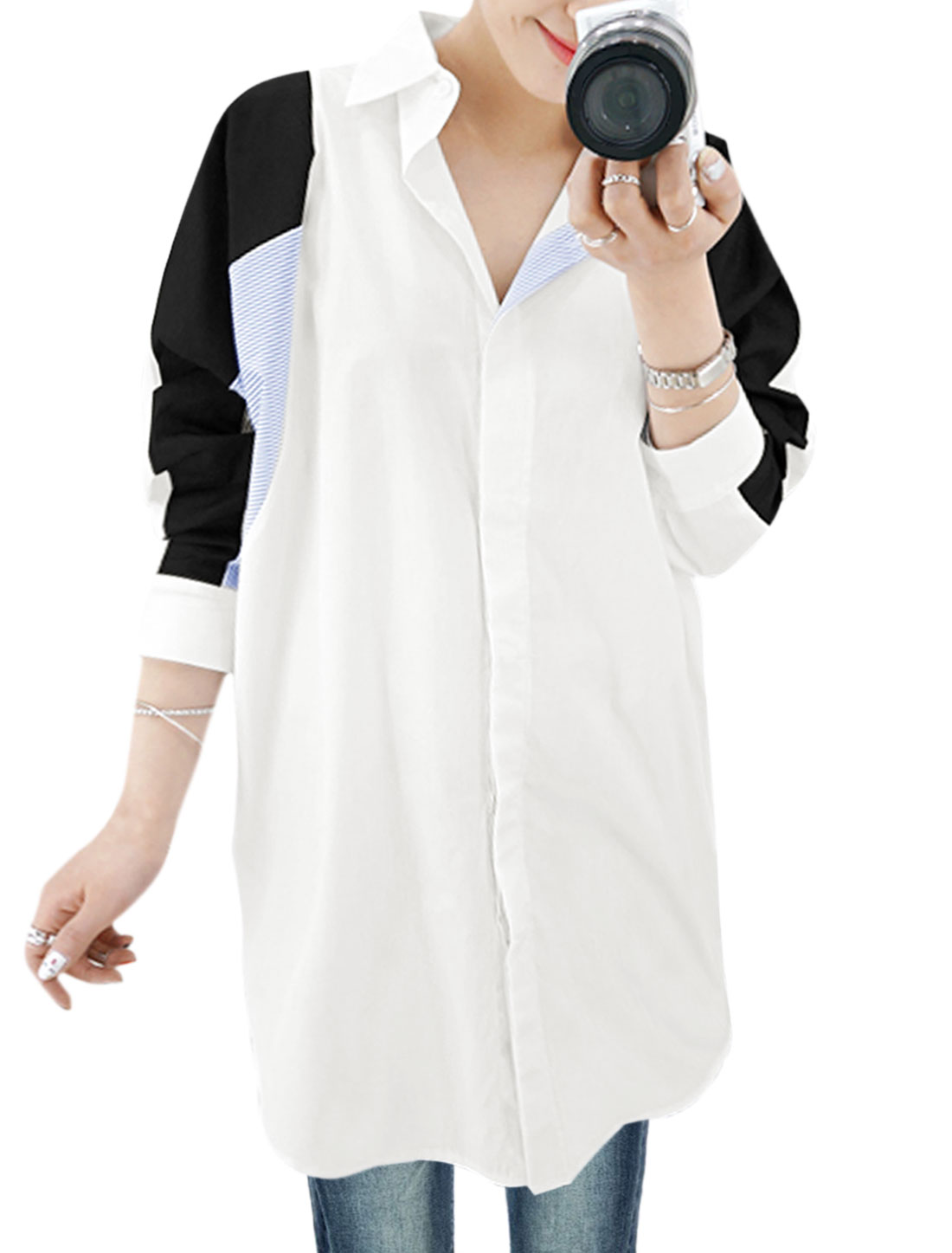 Women Long Sleeves Contrast Color Hidden Placket Tunic Shirt White XS