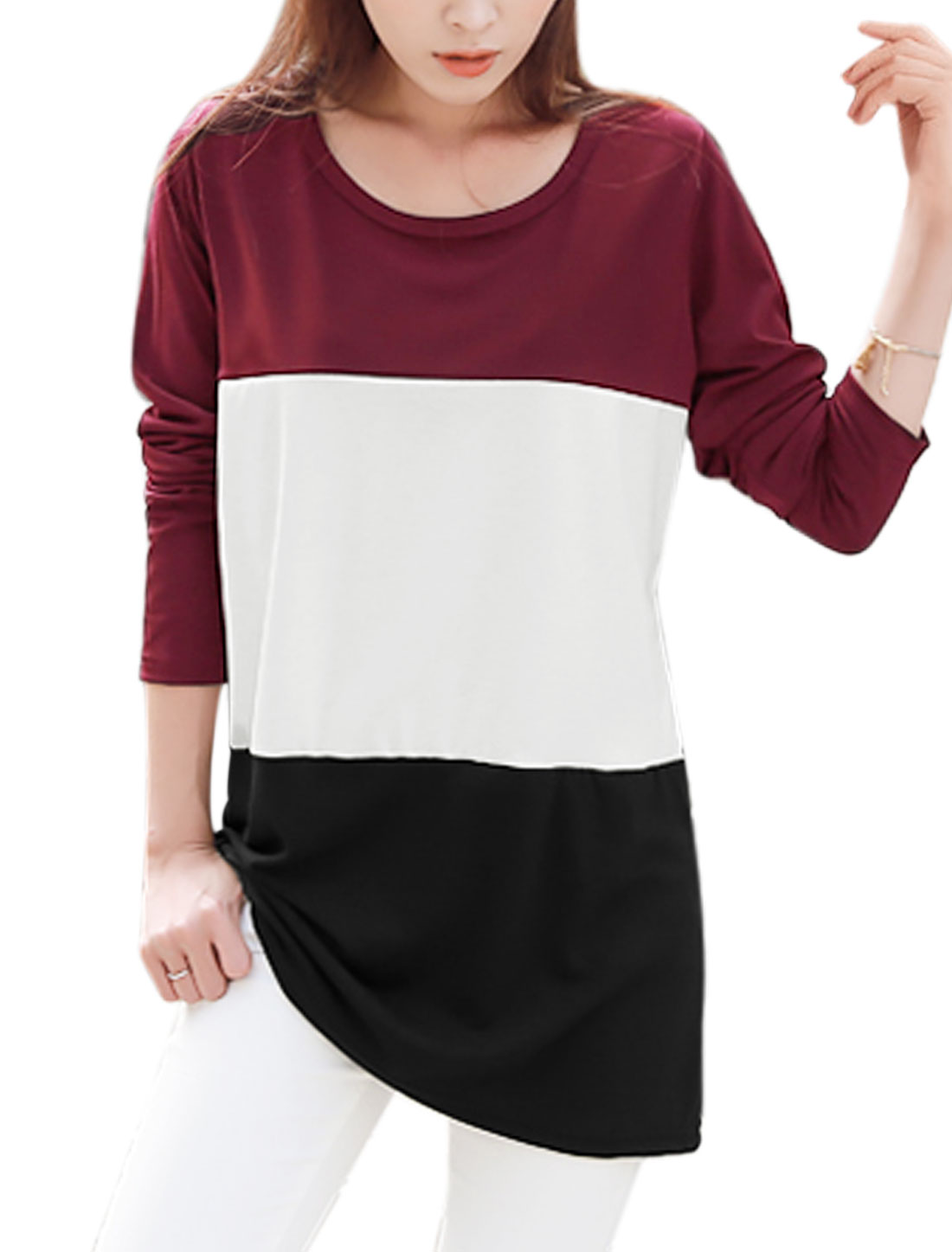 Women Scoop Neck Long Sleeves Color Block Tunic Top Multi-Color XS