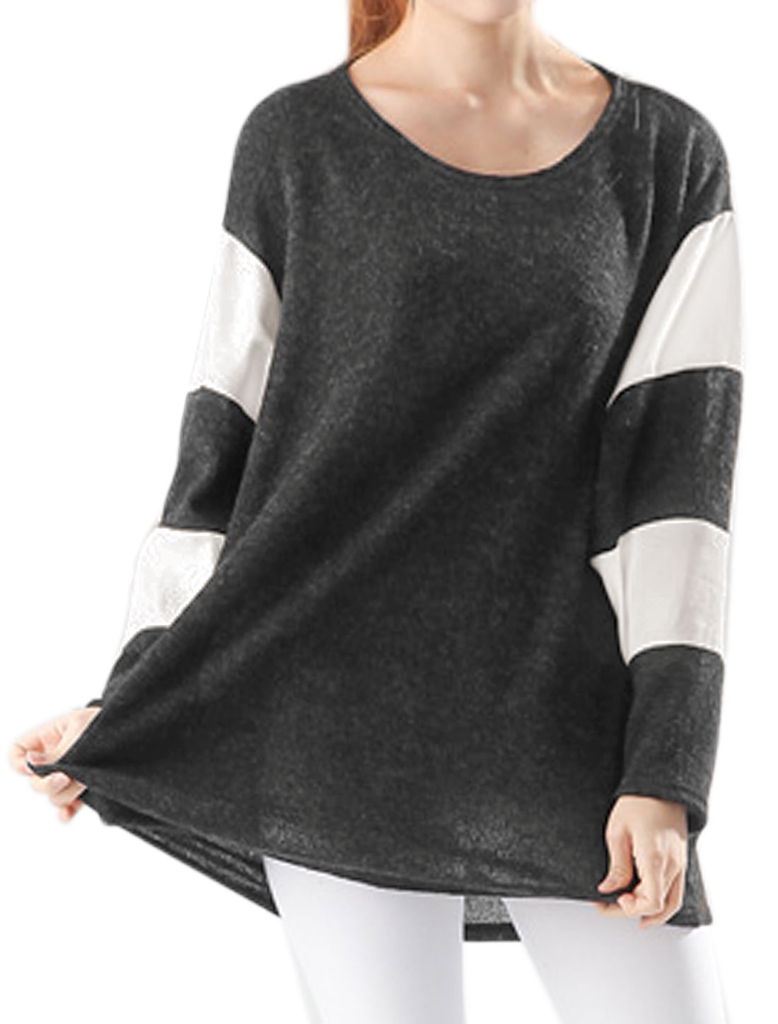 Women Round Neck Dolman Sleeves Color Block Loose Tunic Top Gray XS