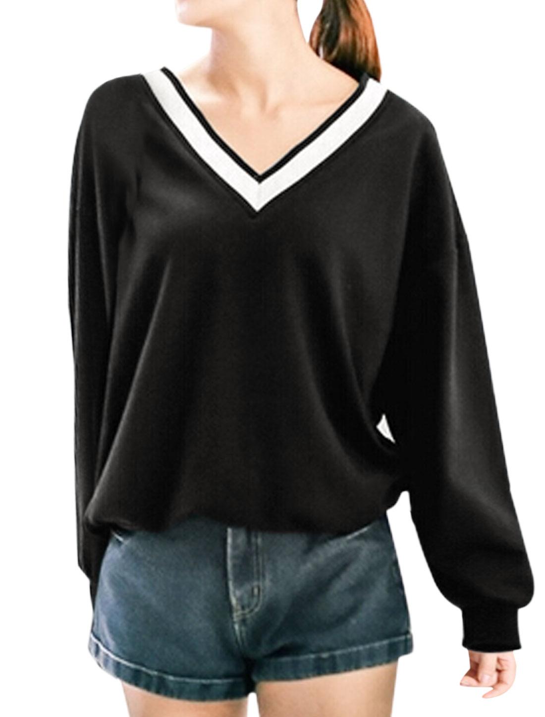 Women Knitted V Neckline Long Batwing Sleeves Drop Shoulder T-Shirt Black XS