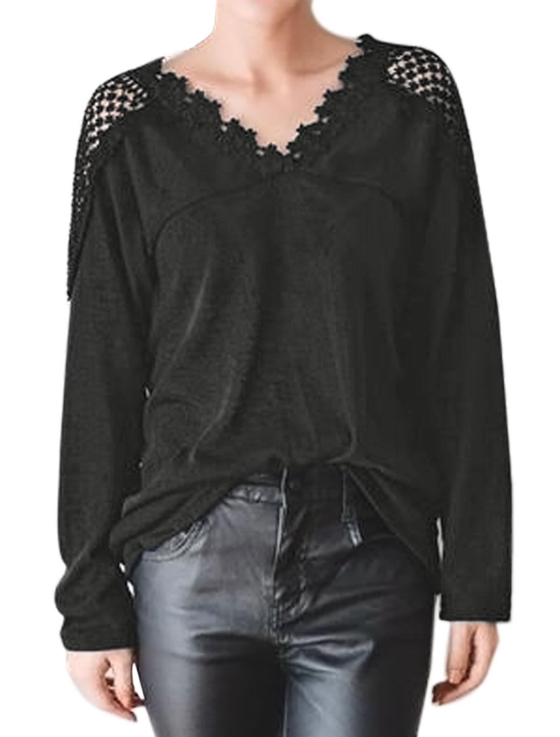 Women V Neckline Long Dolman Sleeves Crochet Panel Casual T-Shirt Black XS