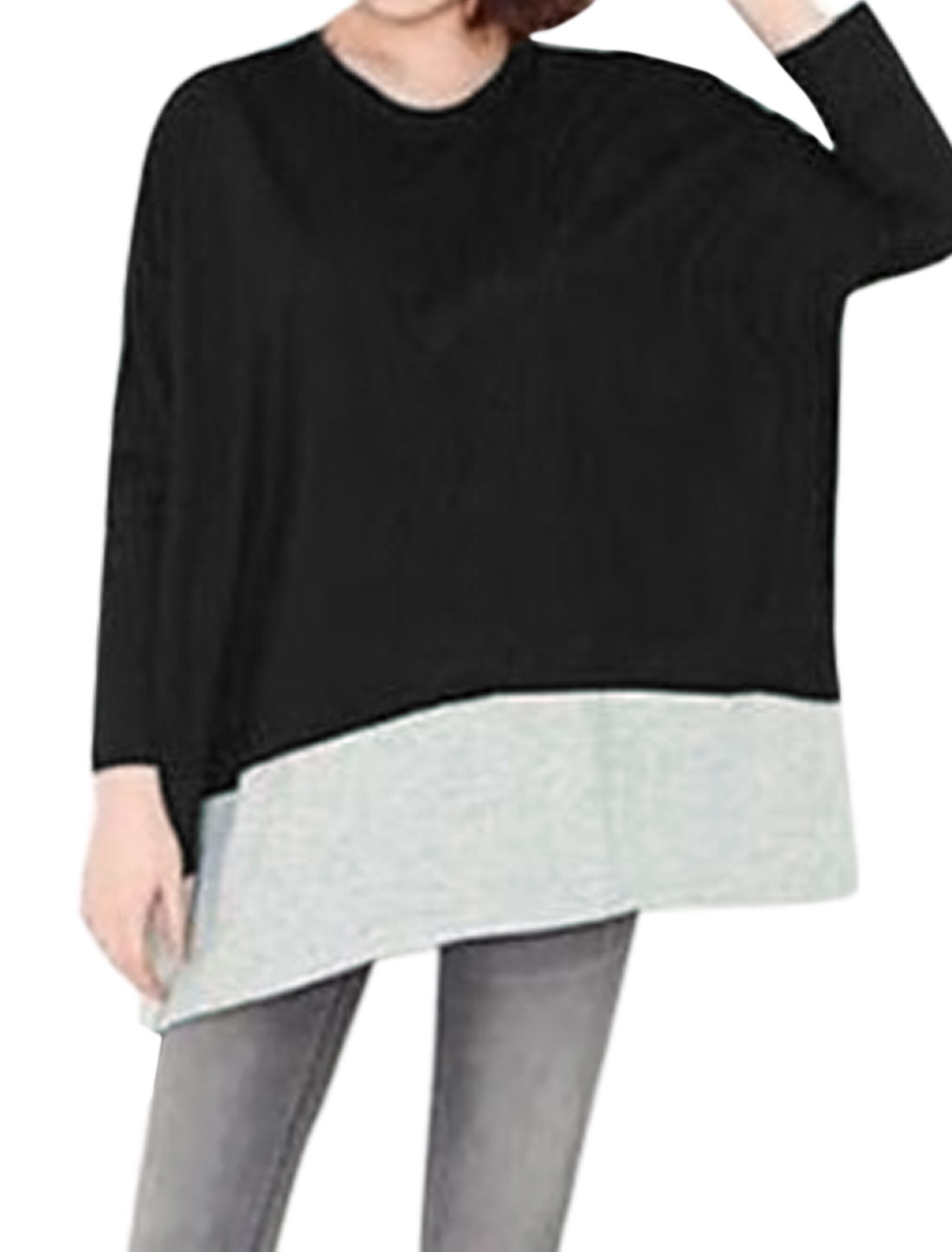 Women Paneled Color Block Batwing Loose Tunic Top Black S