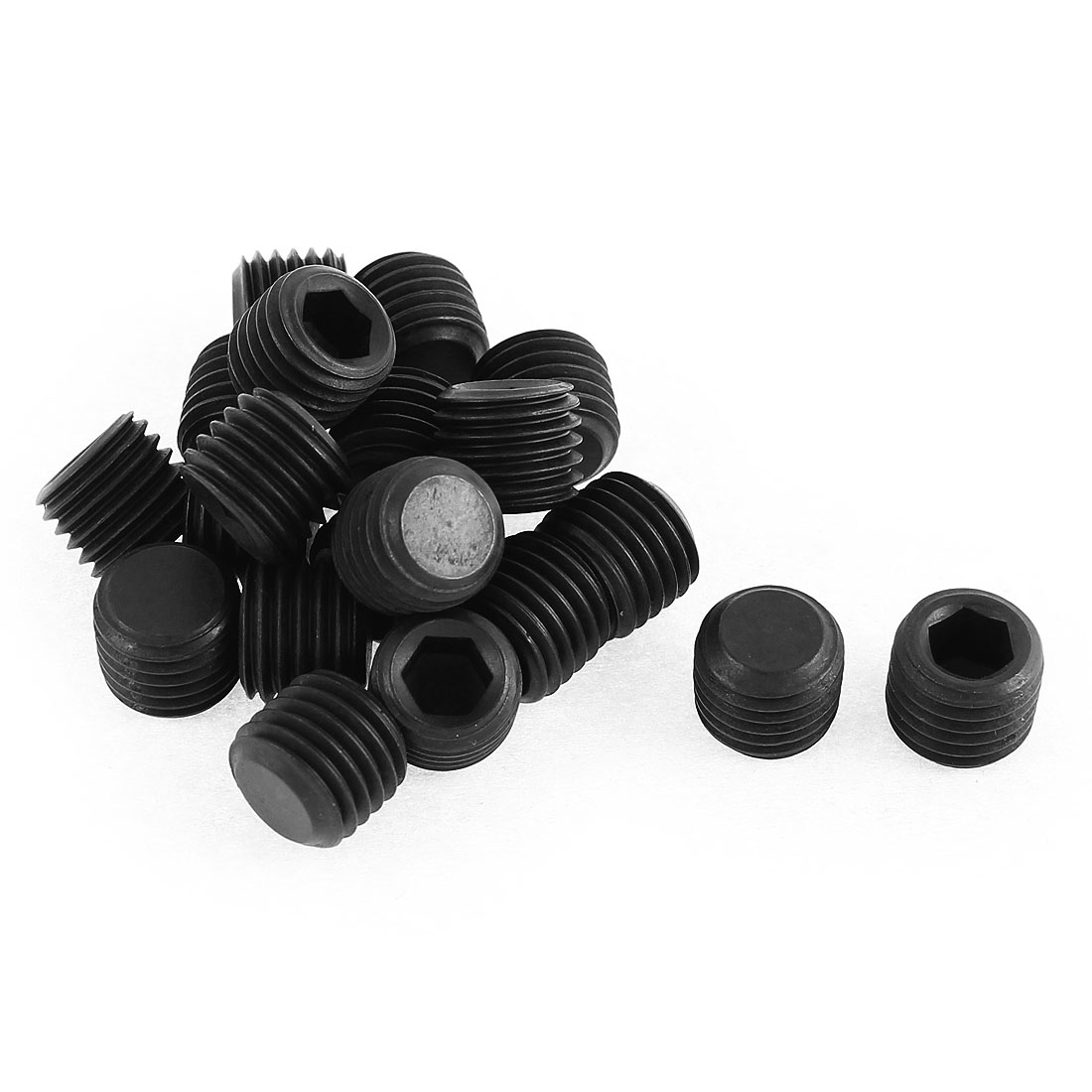 M12x1.5mm Pitch 12.9 Alloy Steel Hex Socket Set Cap Point Grub Screws Black 20pcs